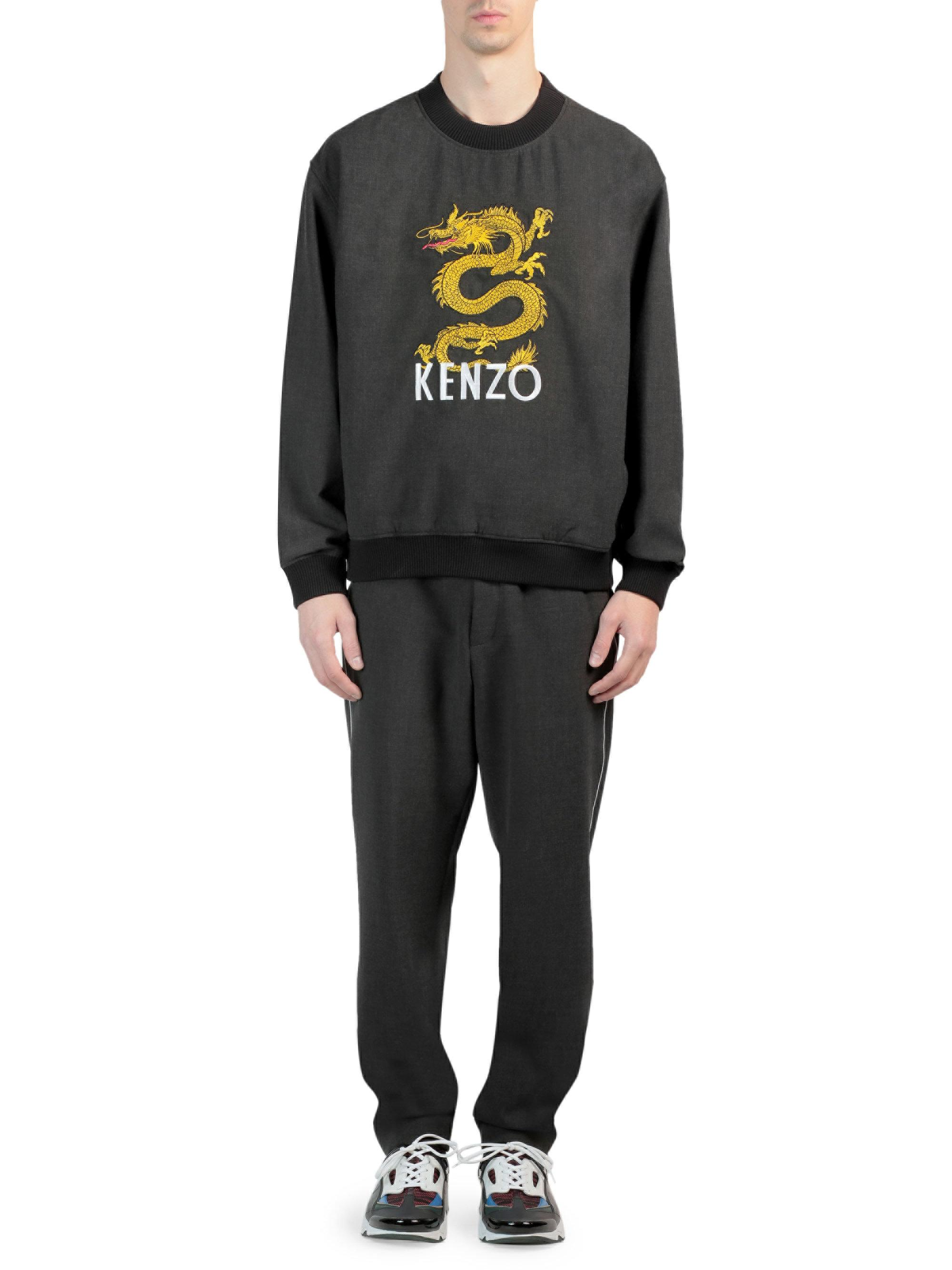 1c92ef8c1 KENZO Woven Dragon Sweater in Gray for Men - Lyst