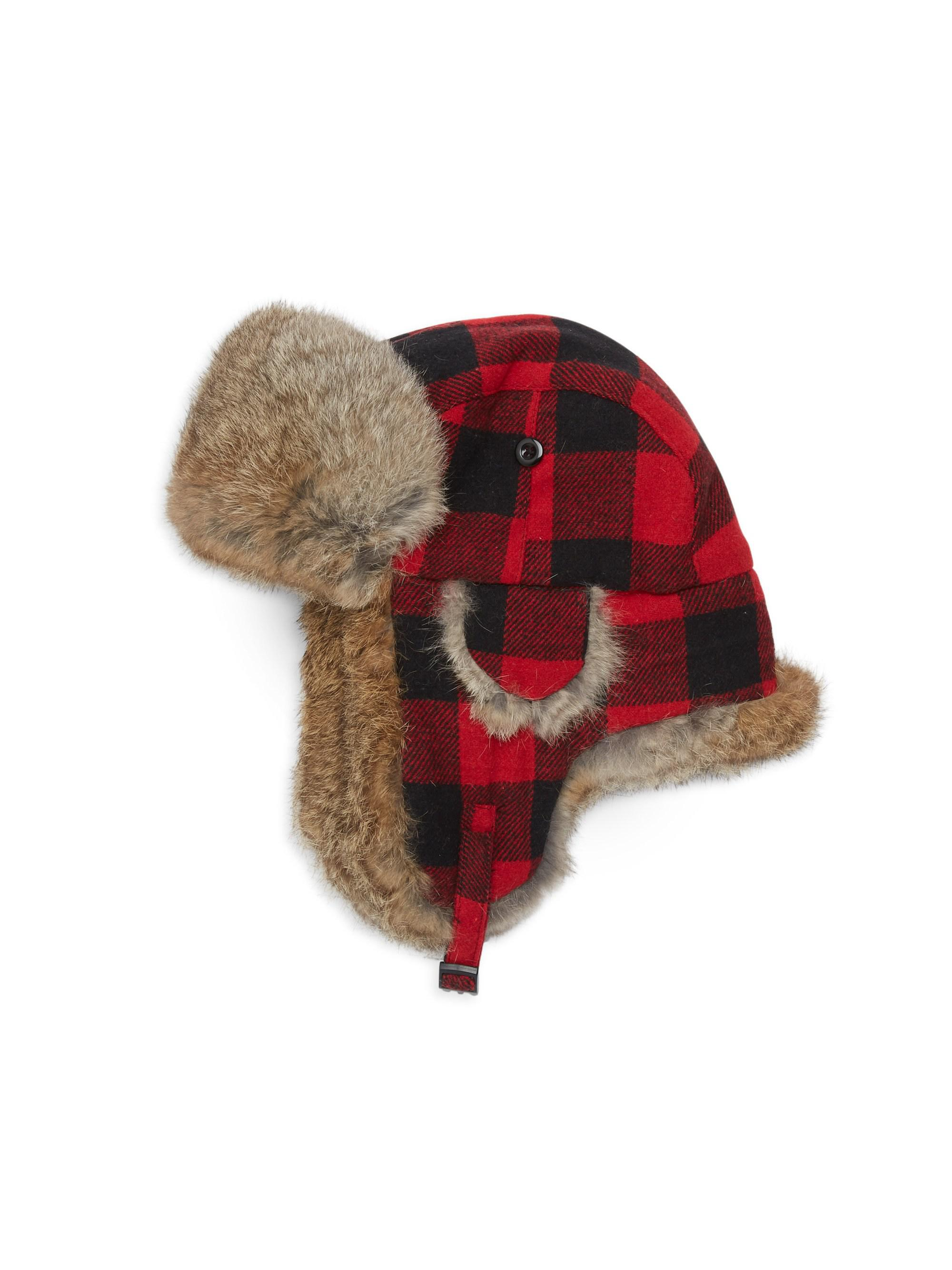 2aa8fc66df9 Lyst - Crown Cap Rabbit Fur Buffalo Check Trapper Hat in Red for Men
