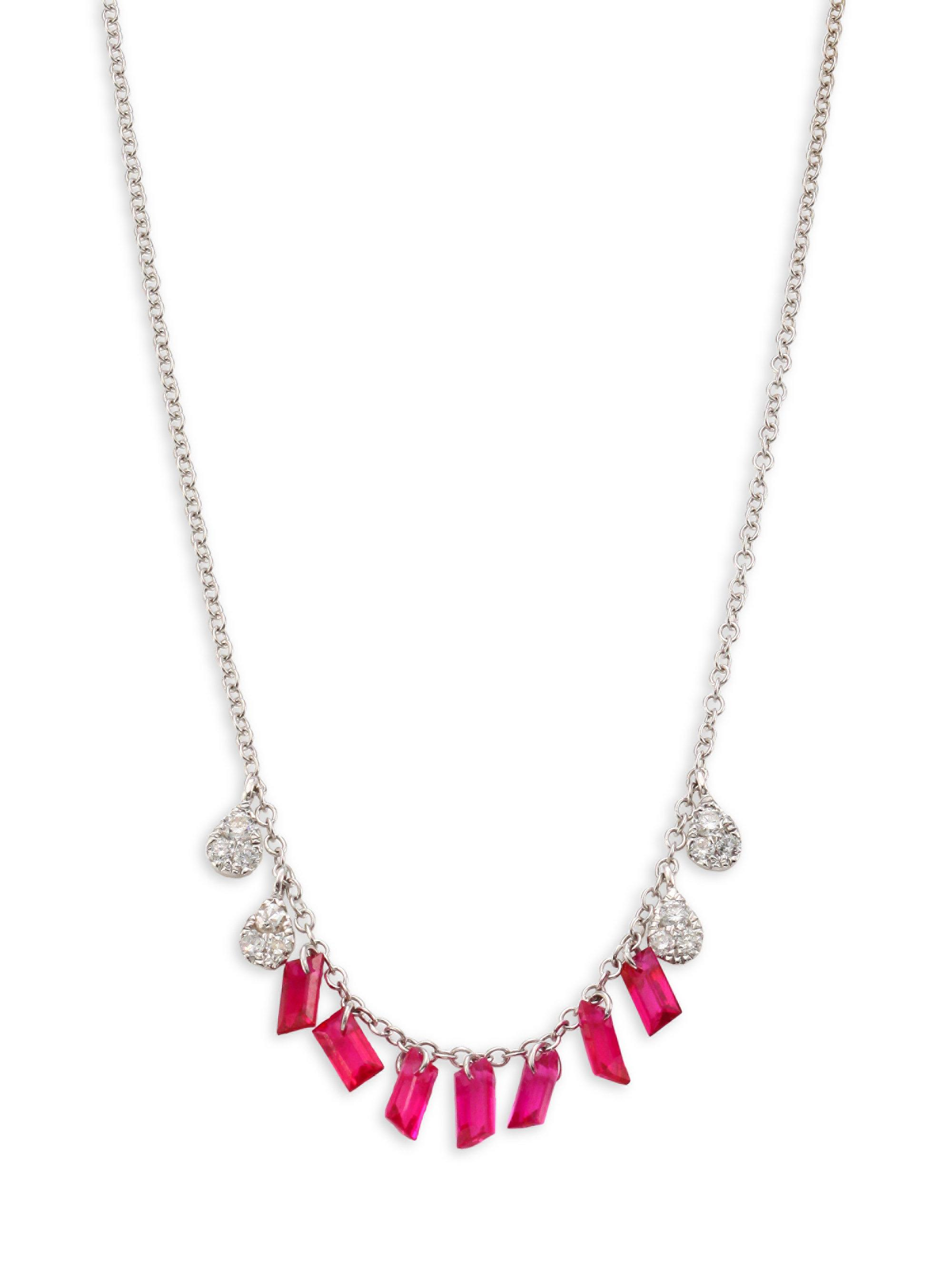Lyst meira t diamond ruby necklace in metallic meira t womens metallic diamond ruby necklace aloadofball Images