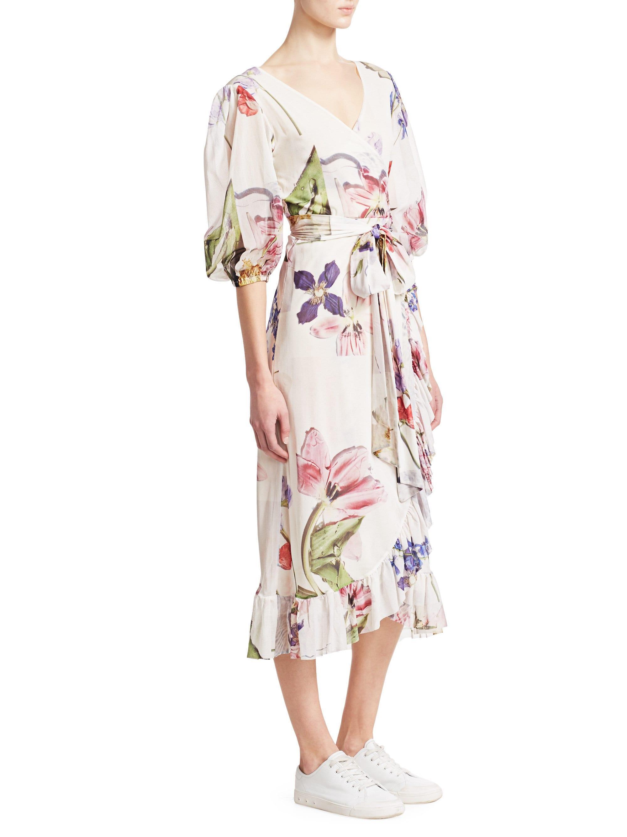 76f3bd1b ... Printed Mesh Ruffled Wrap Dress - Bright White - Lyst. View fullscreen