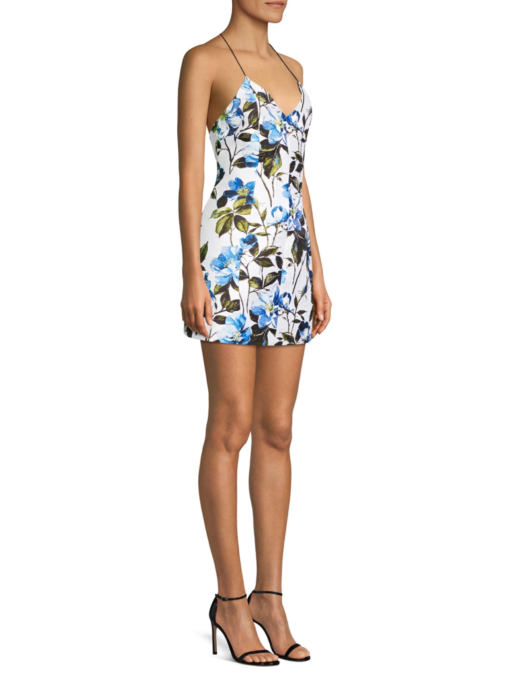 0e164fa970ec Alice + Olivia Alice + Olivia Tayla Floral Structured Lantern Mini Dress in  Blue - Lyst