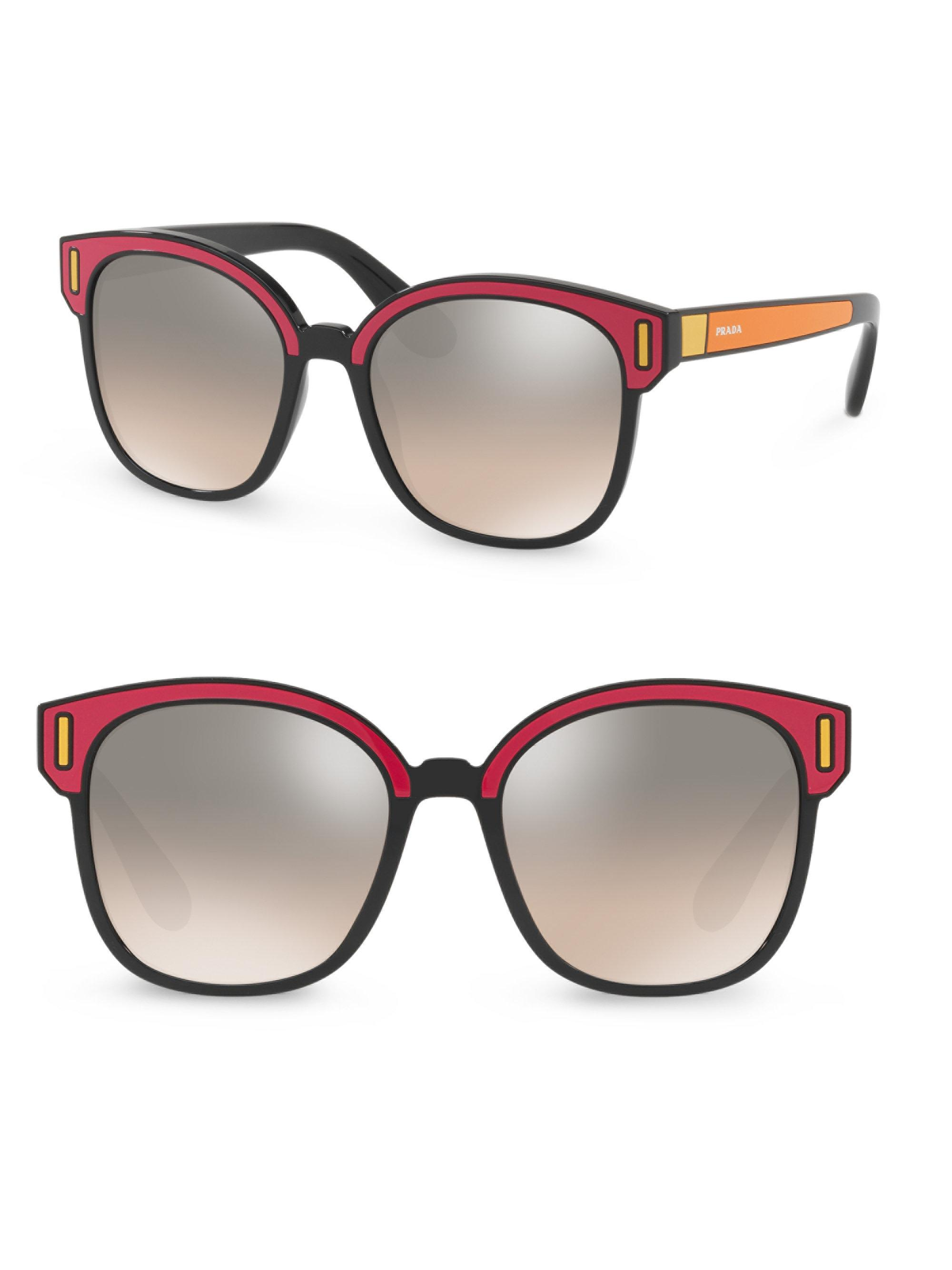 5c37ac615a8 ... order lyst prada color pop mirrored lens sunglasses in brown 2deb1 c7f4a