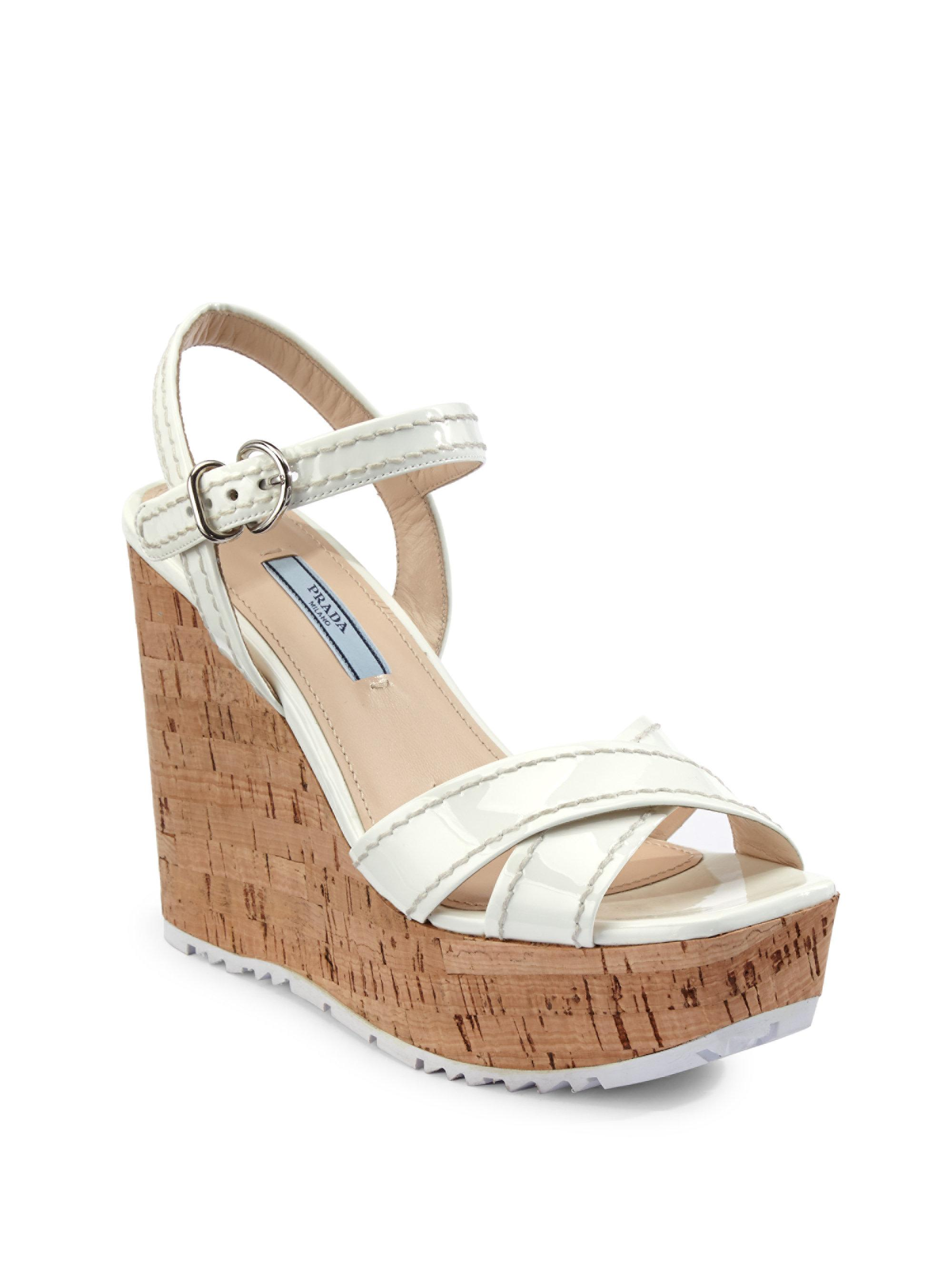 885af4479af Lyst - Prada Leather Platform Wedge Sandals in White