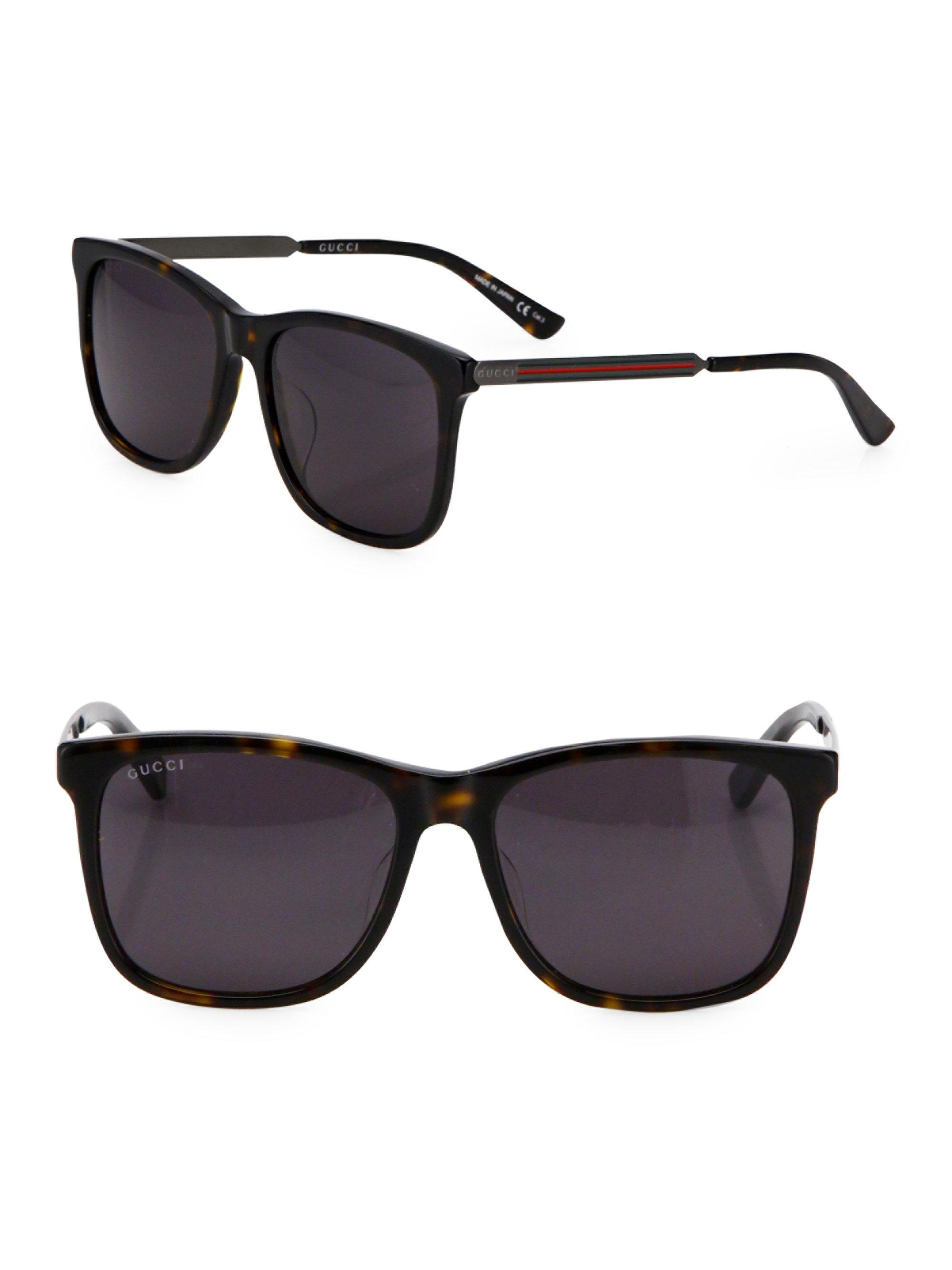 96c553656 Gucci 56mm Web Detailed Square Sunglasses for Men - Lyst