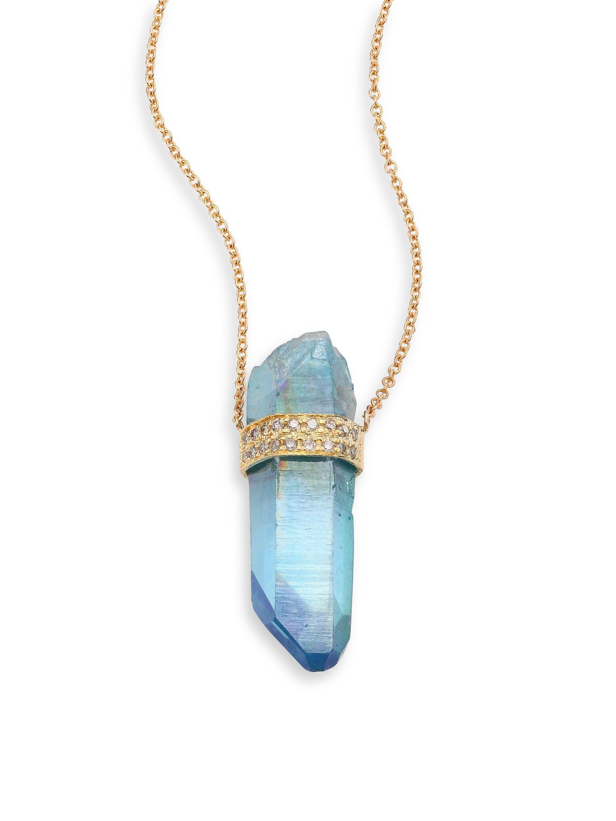 Lyst jacquie aiche diamond blue aqua aura quartz 14k yellow jacquie aiche womens diamond blue aqua aura aloadofball Image collections