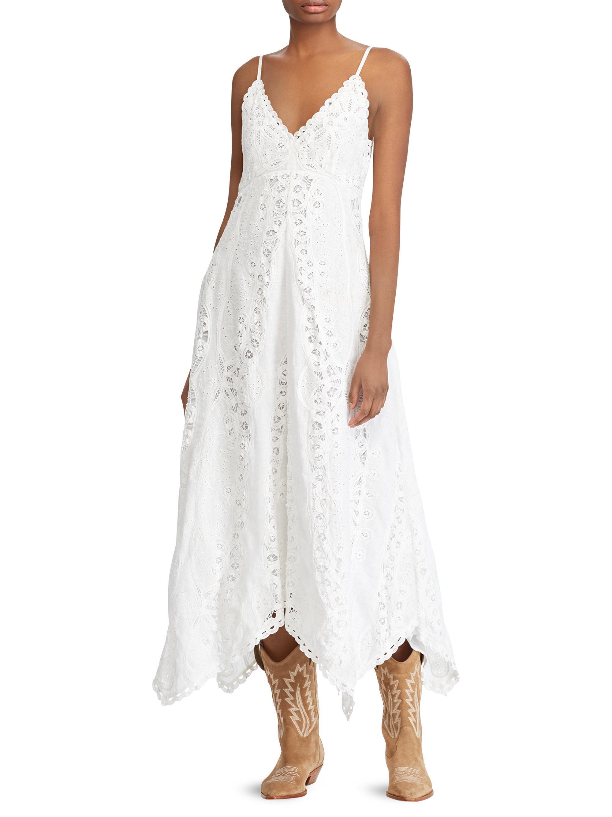 17a1936d048 Lyst - Polo Ralph Lauren Linen Maxi Dress in White
