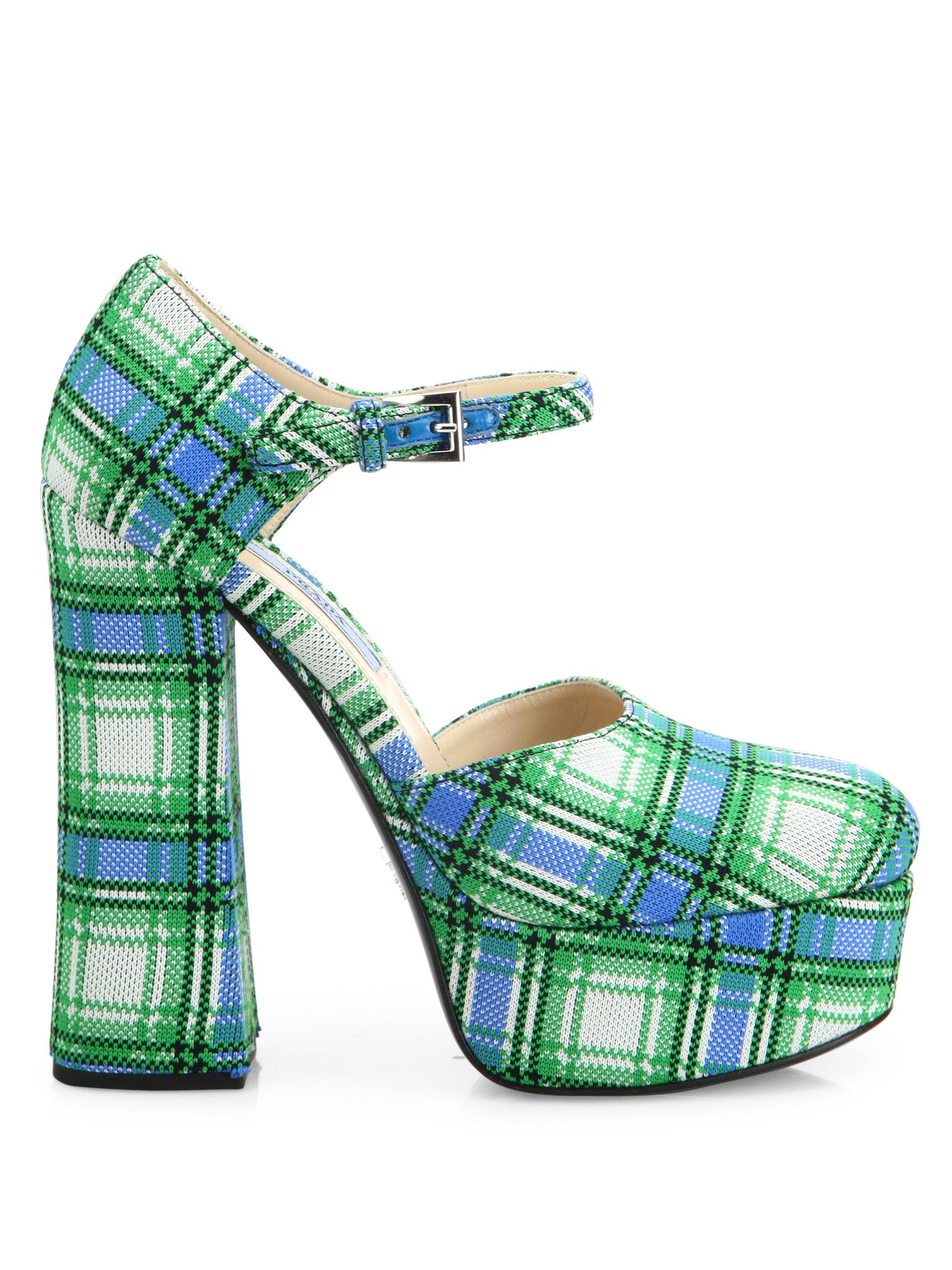 Prada Plaid Platform Pumps buy for sale sale cost deals online best store to get cheap online tumblr cheap price 1hDY2K