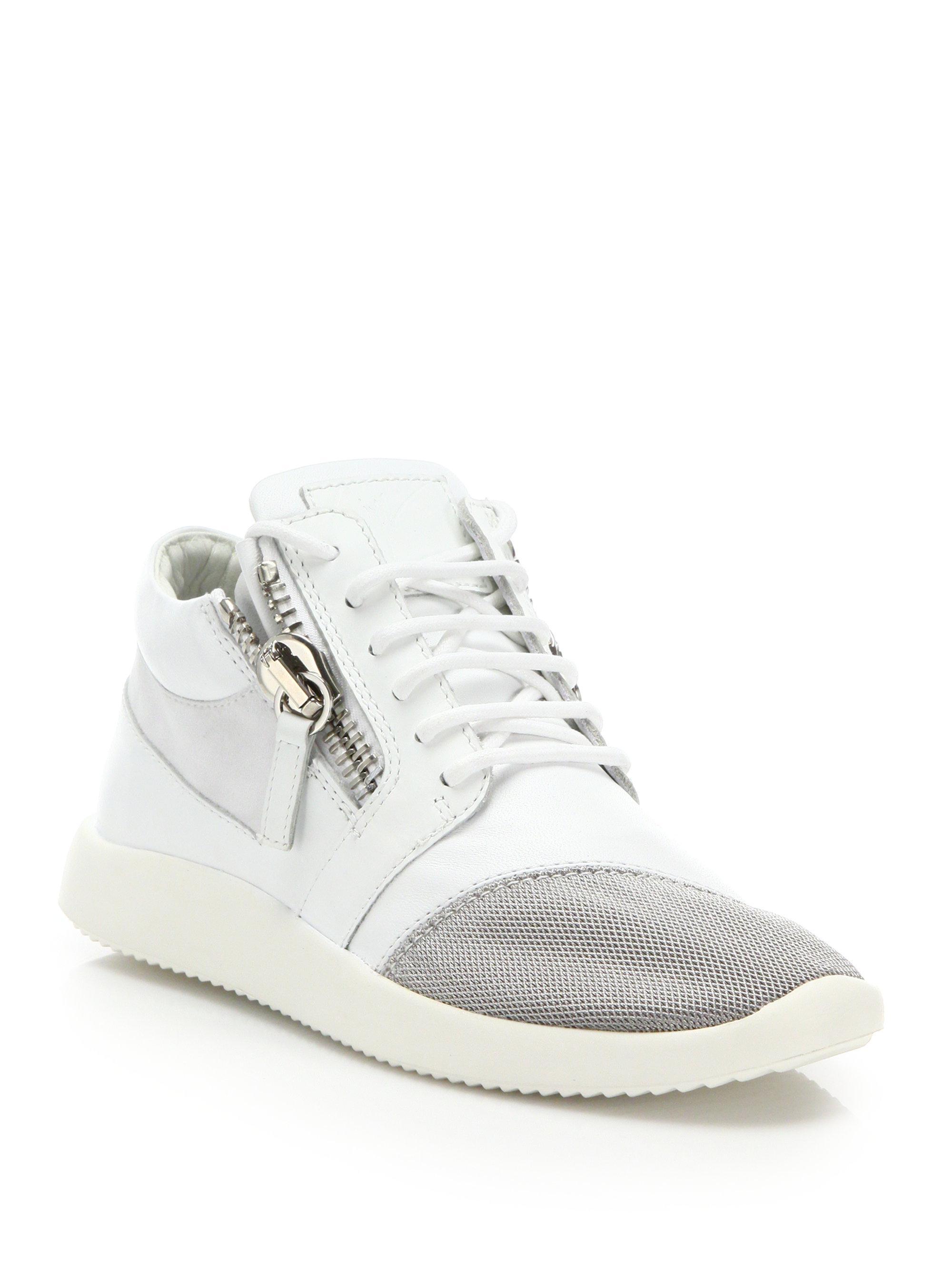 Giuseppe Zanotti Leather & Mesh Side-Zip Sneakers AQfMx