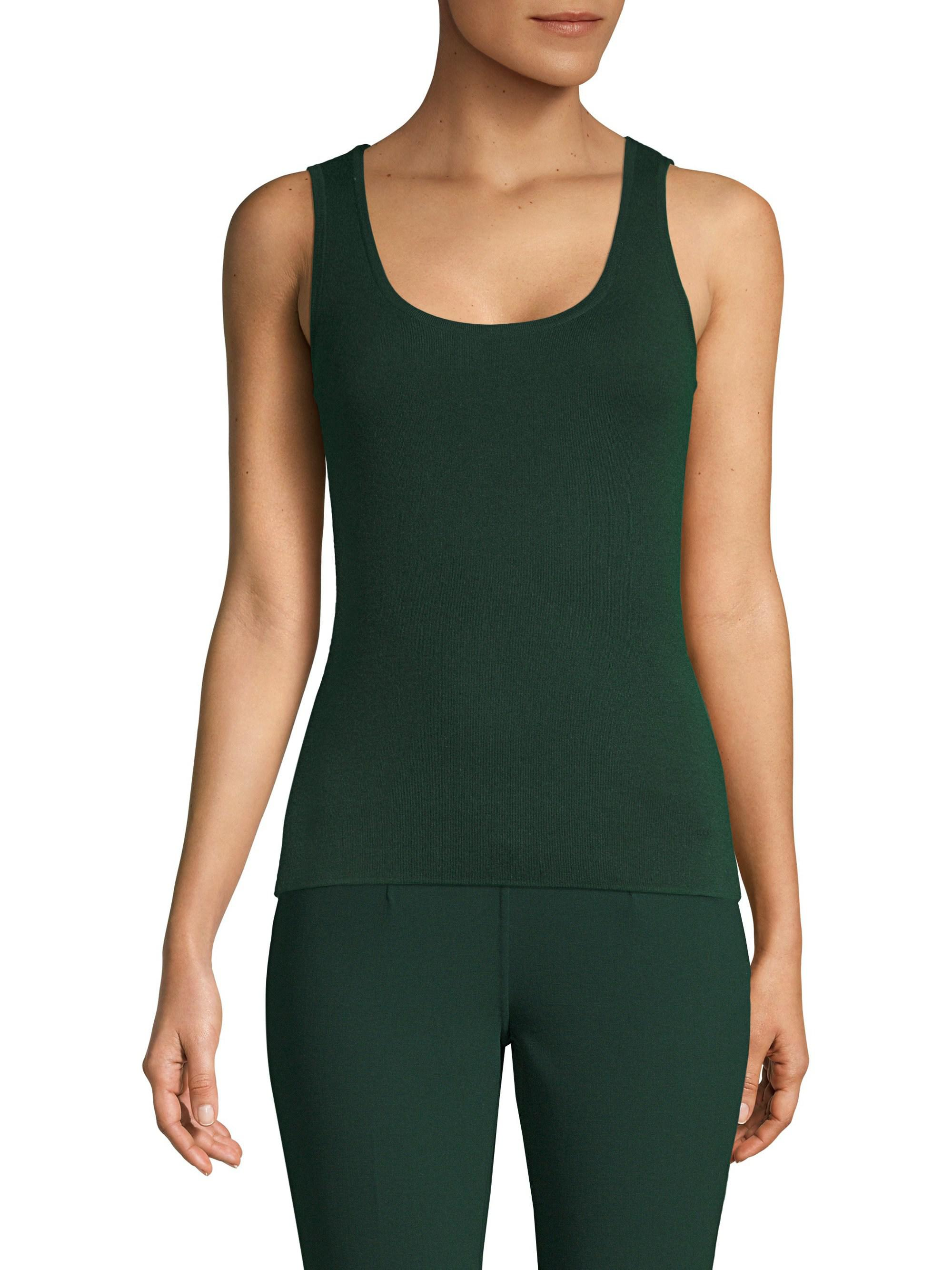 aad8bed170f6f Lyst - Michael Kors Cashmere Scoopneck Tank Top in Green