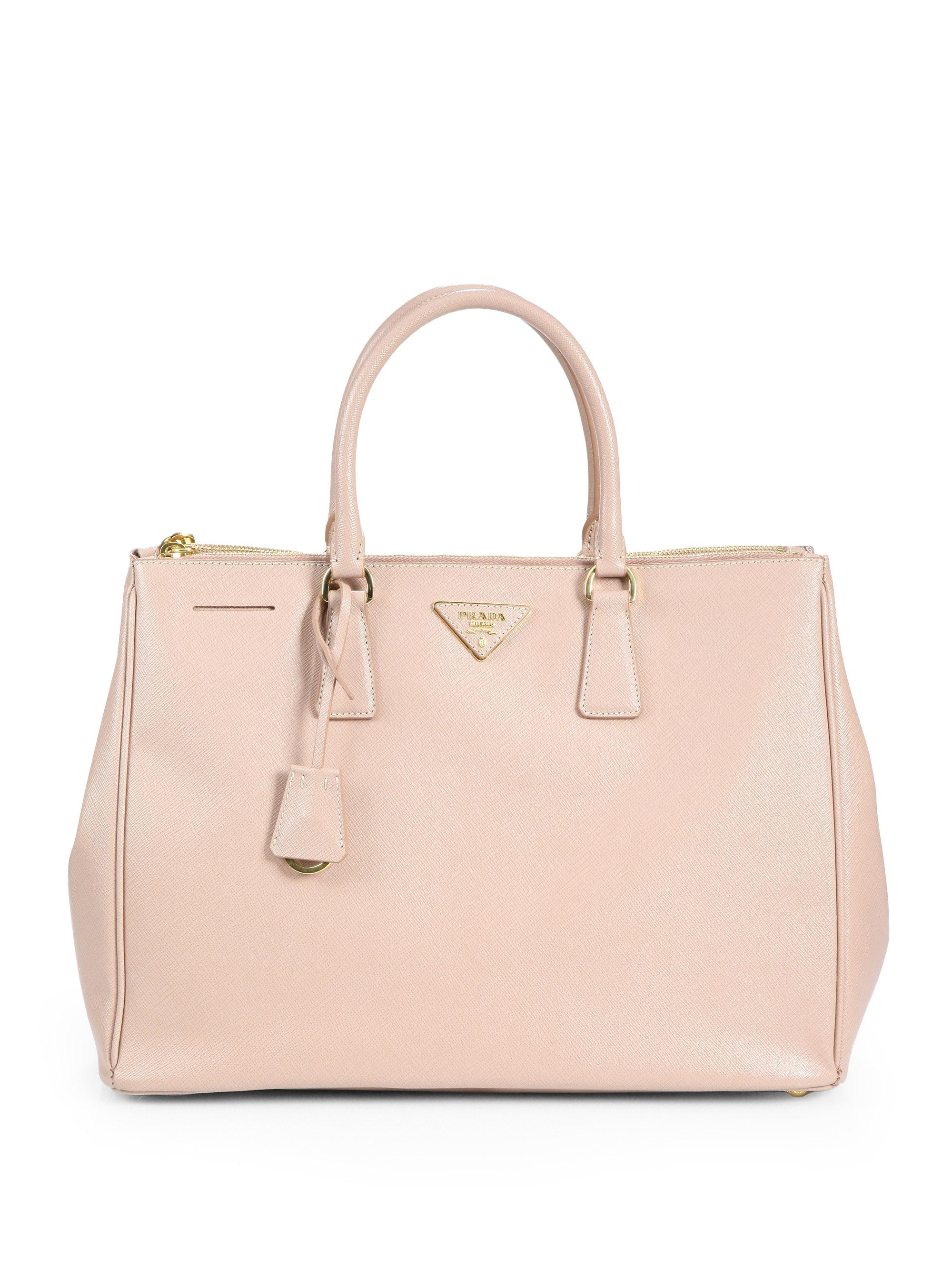 Lyst - Prada Saffiano Lux Large Double-zip Tote in Natural 685085d165b0d