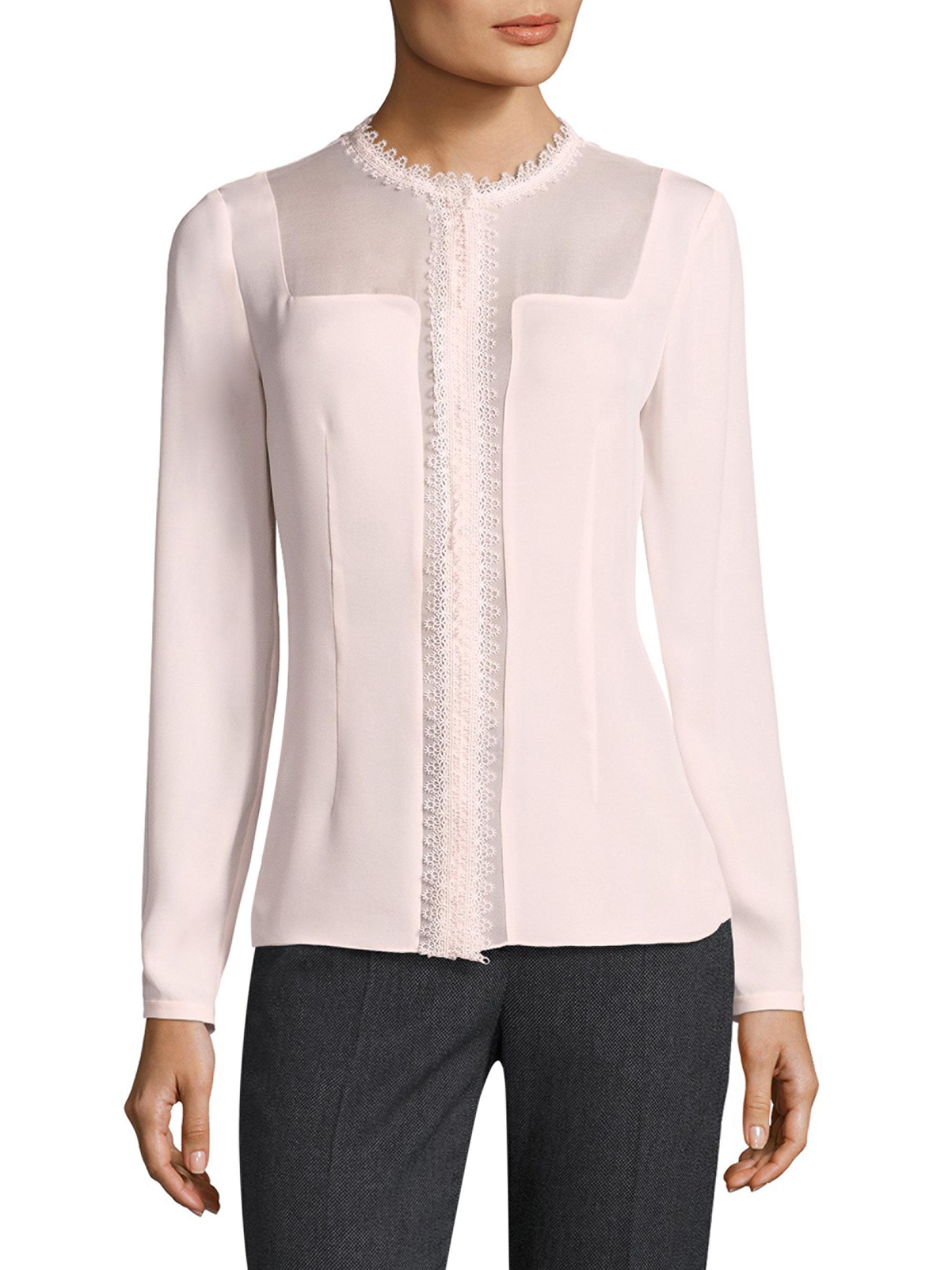 23d81c8684347 Lyst - Elie Tahari Coretta Sheer Insert Silk Blouse in Pink