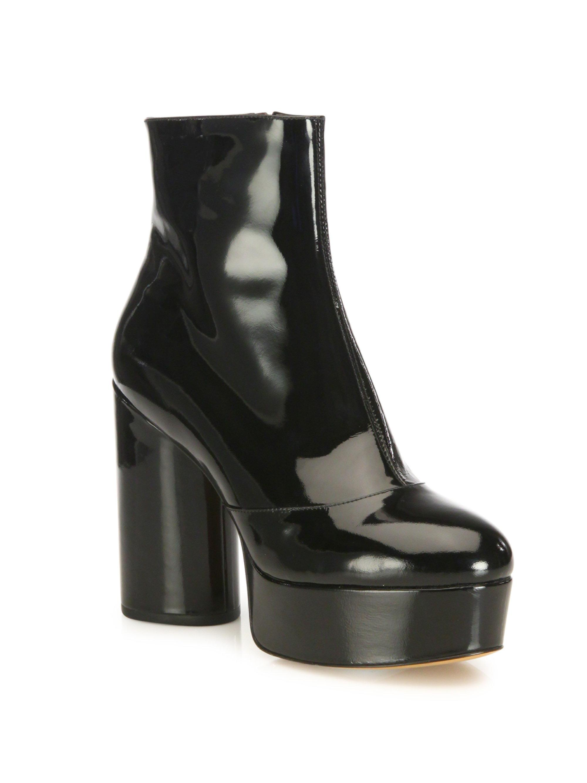 1e94822443d Lyst - Marc Jacobs Amber Patent Leather Platform Boots in Black