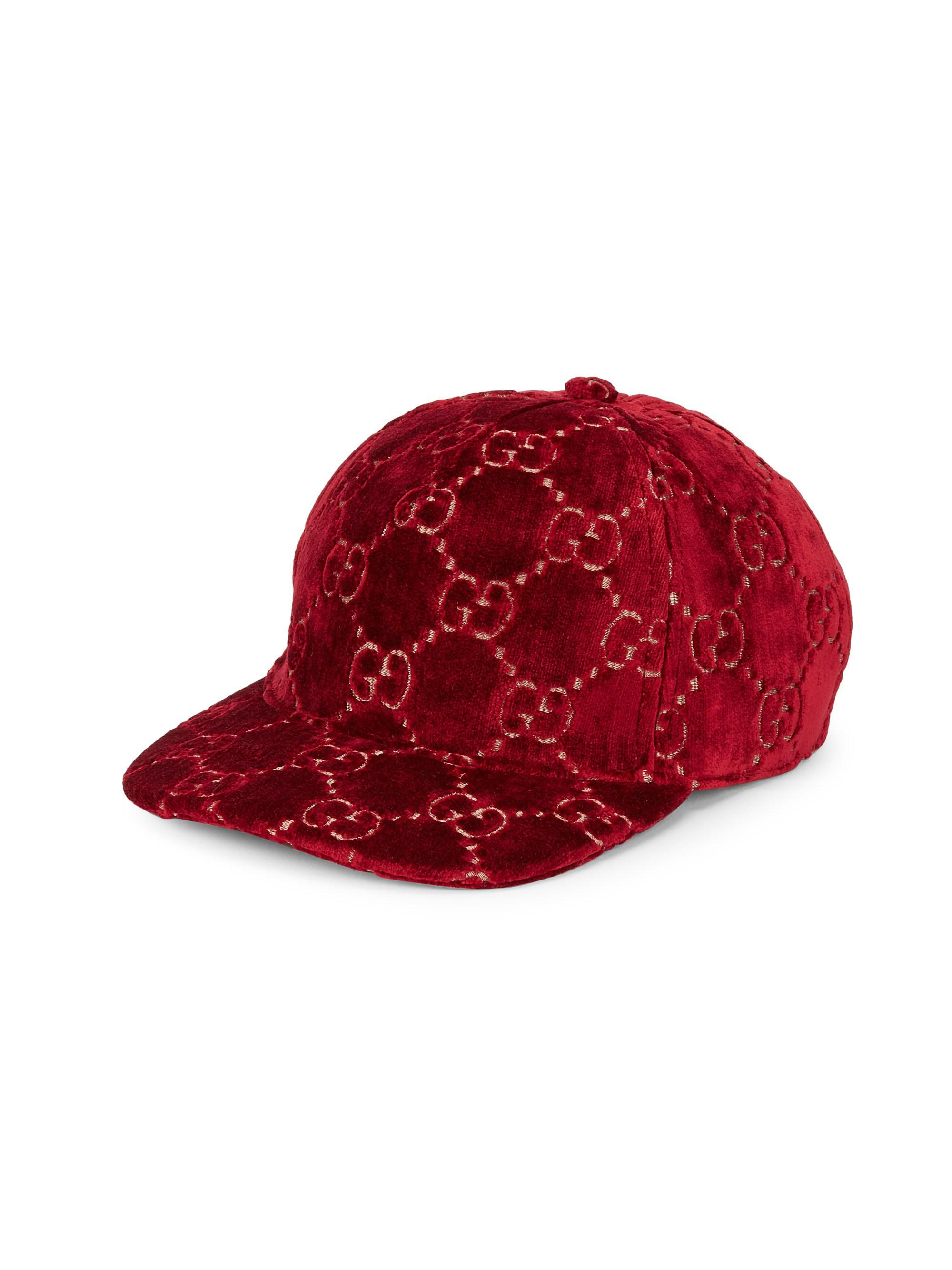 556537d05fd28 Gucci GG Velvet Baseball Cap in Red - Save 31% - Lyst