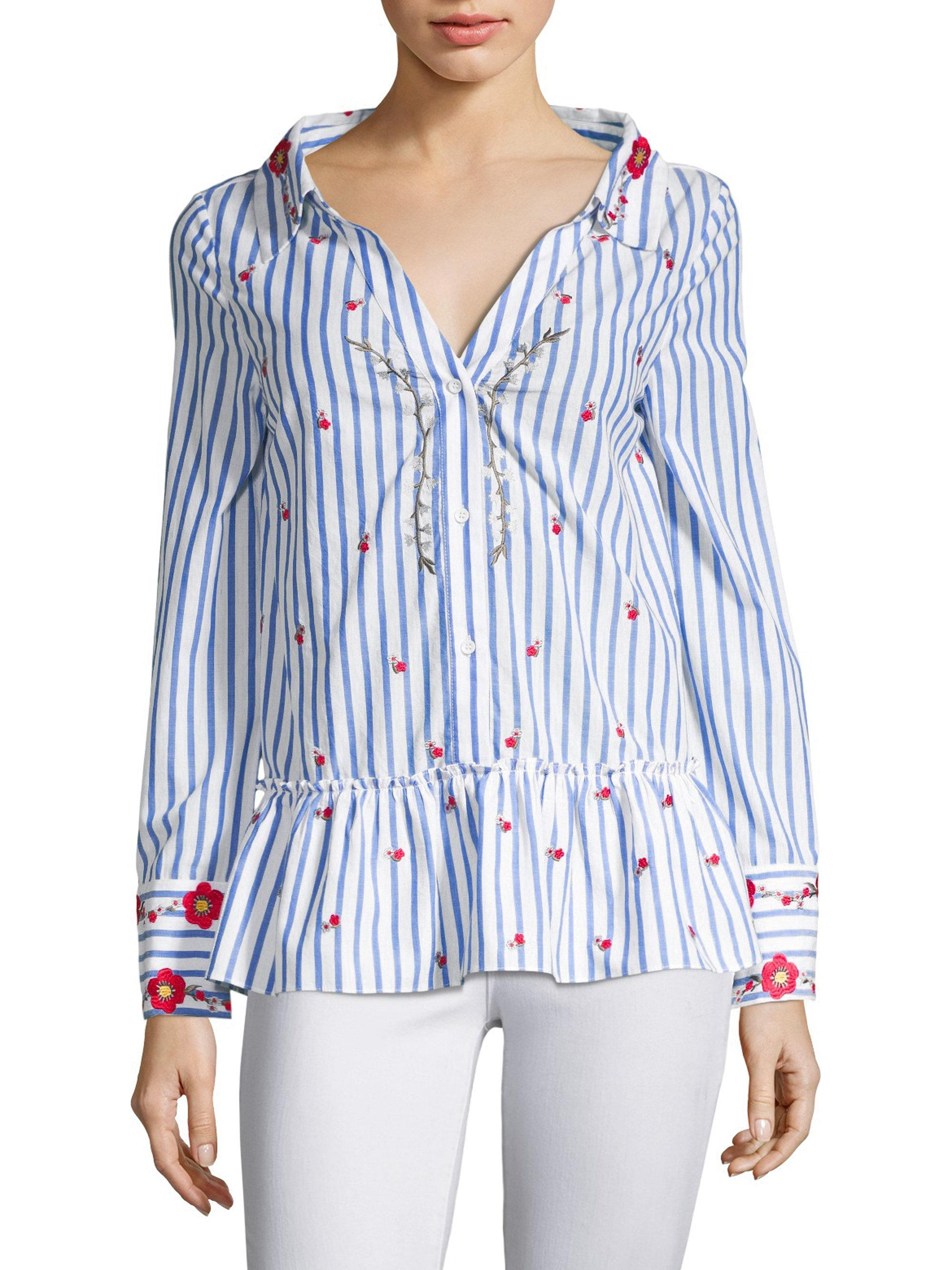 92557342d832a0 Alice + Olivia Ashlyn Button-down Embroidery Shirt in Blue - Lyst