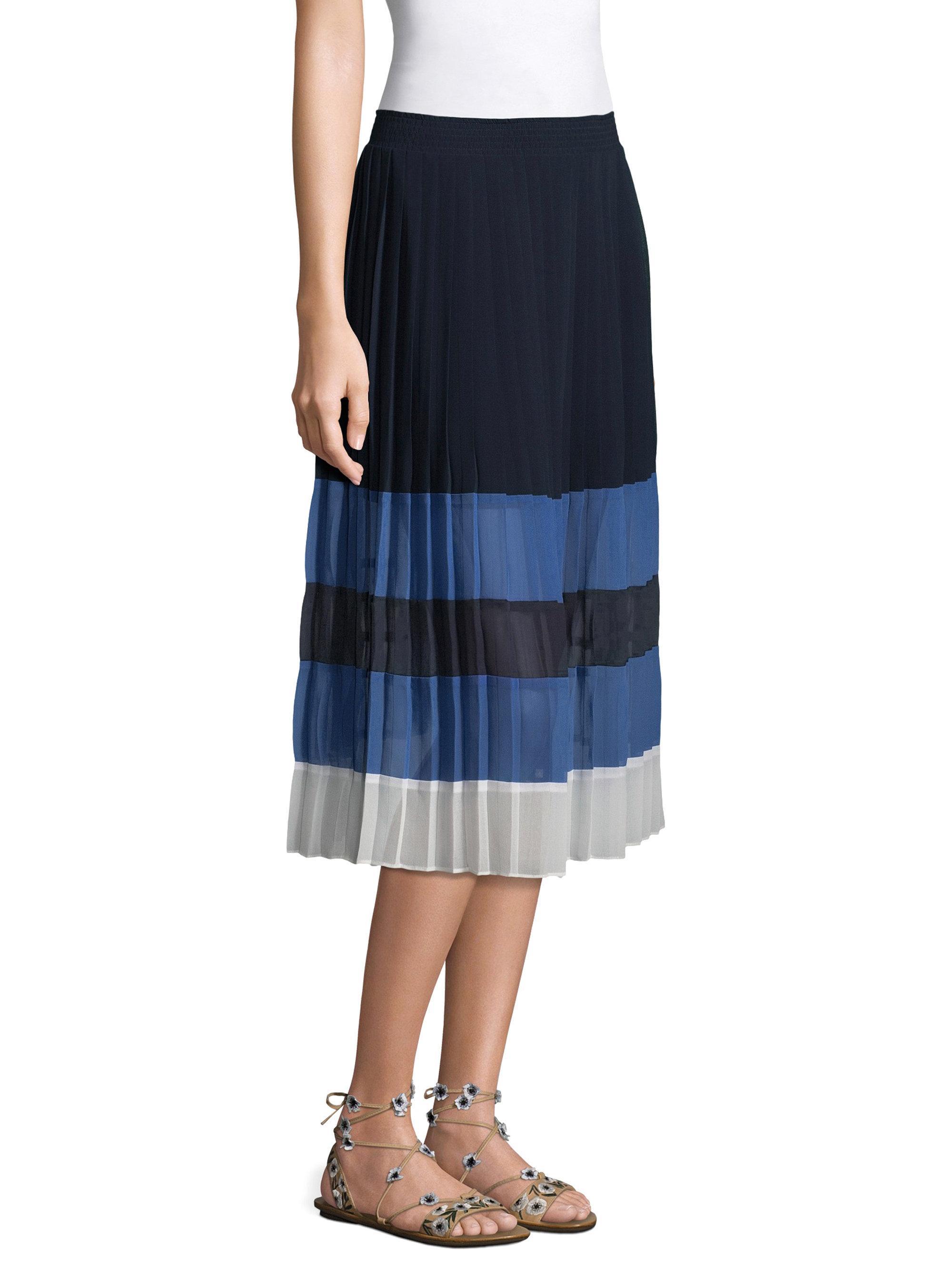 3ad6f0541 Joie Alpons Pleated Colorblock Midi Skirt in Blue - Lyst