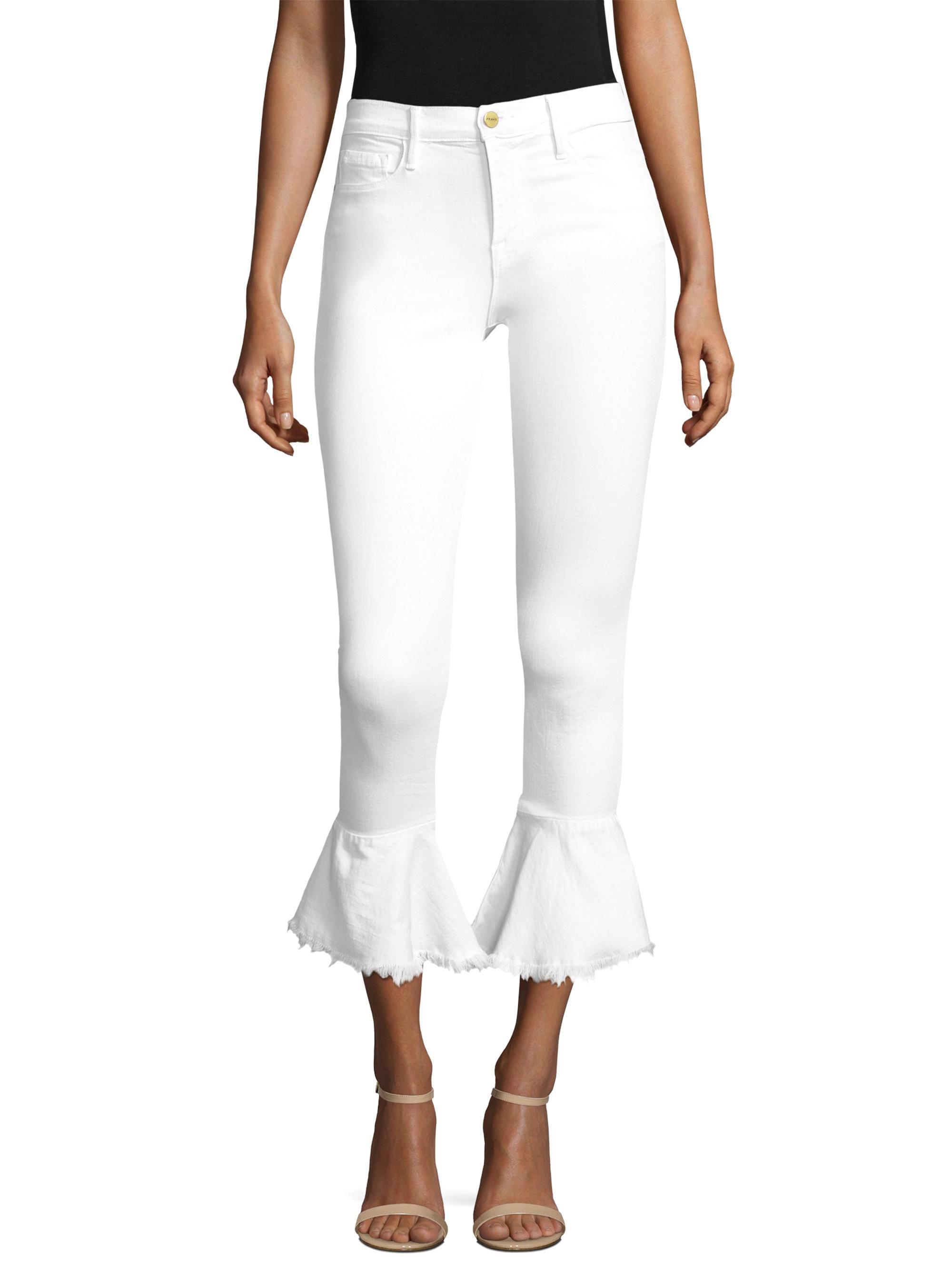 Lyst - Frame Flounce Hem White Denim Skinny Jeans in White