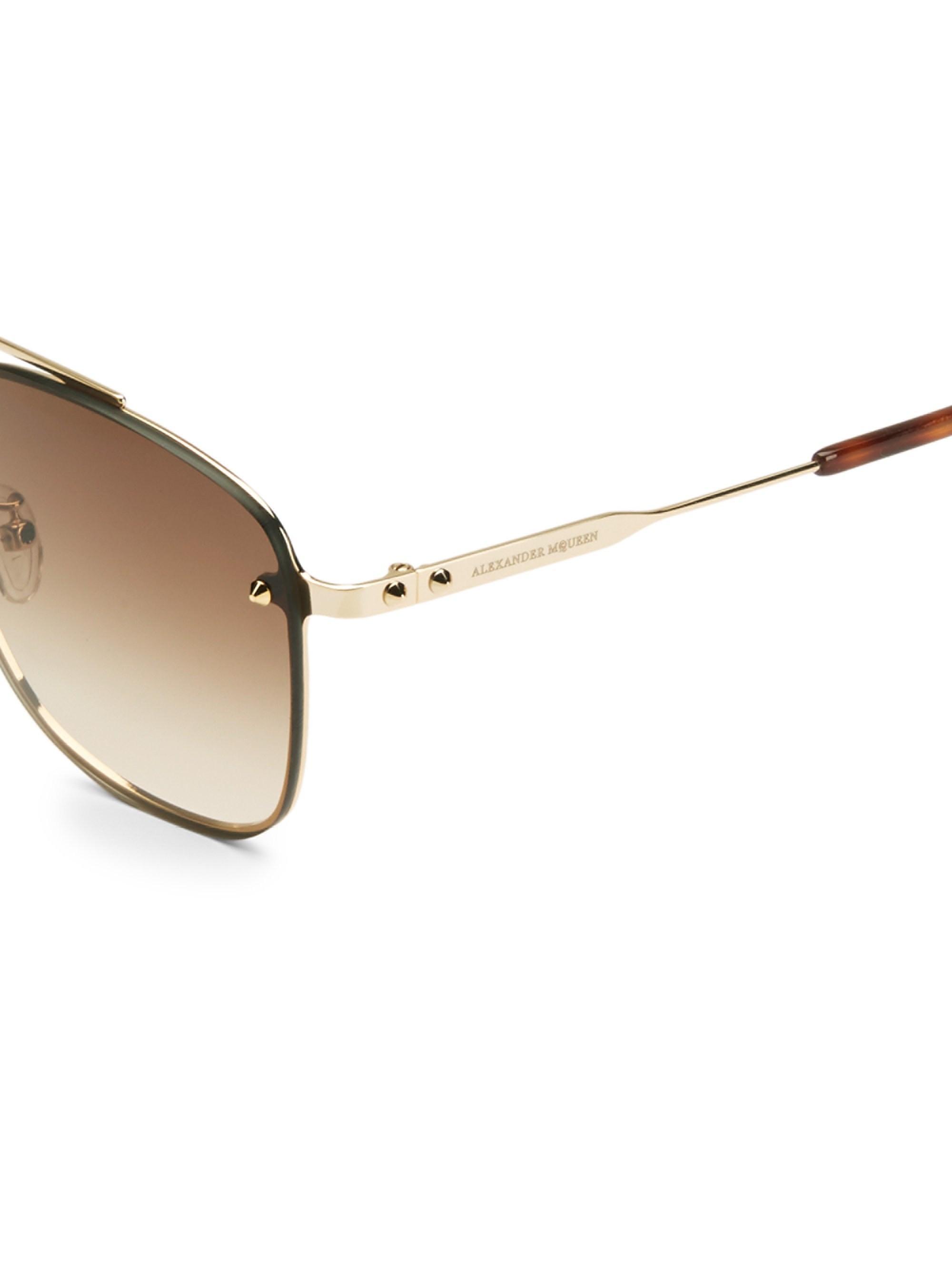 d7d401395652 Alexander McQueen - Metallic Men s 62mm Sunglasses - Gold for Men - Lyst.  View fullscreen