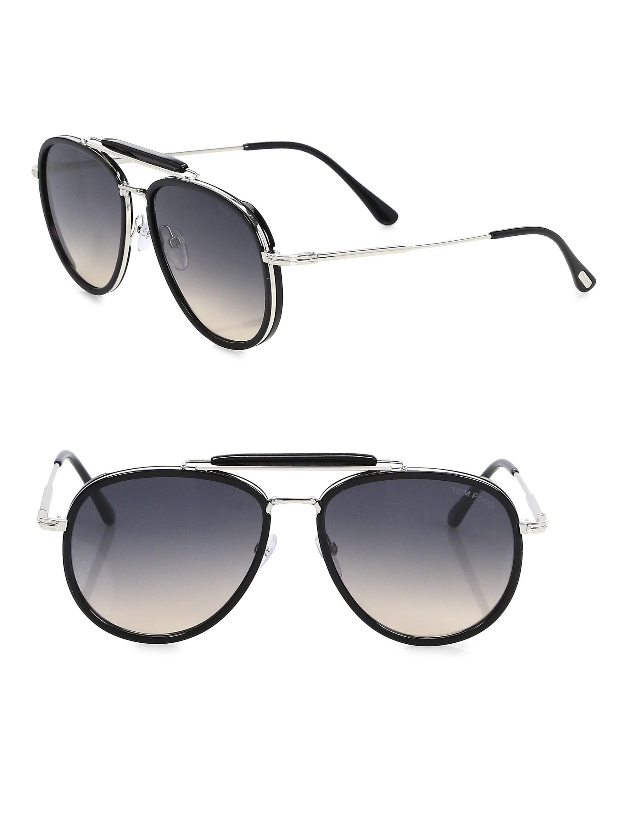 fd5012d26f7 Tom Ford Men s Tripp 58mm Aviator Sunglasses - Black in Black for ...