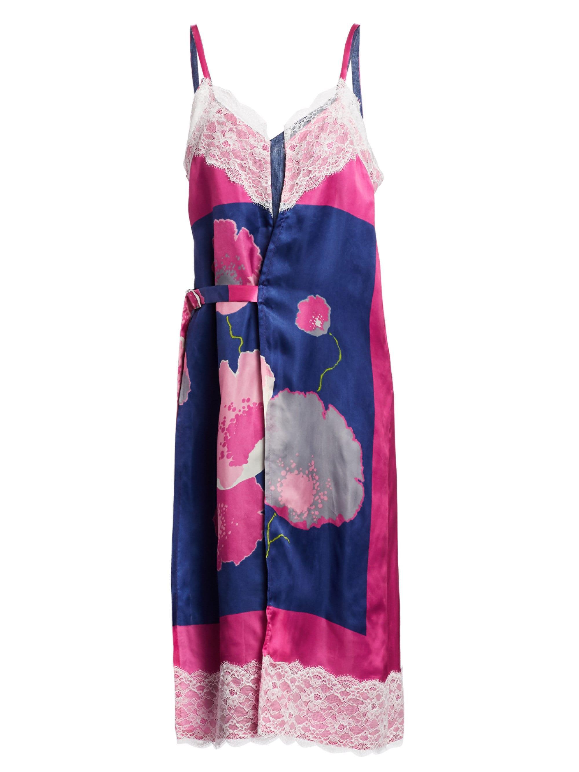 66995346af5 Lyst - Junya Watanabe Women s Floral Lace Belted Slip Dress - Navy ...