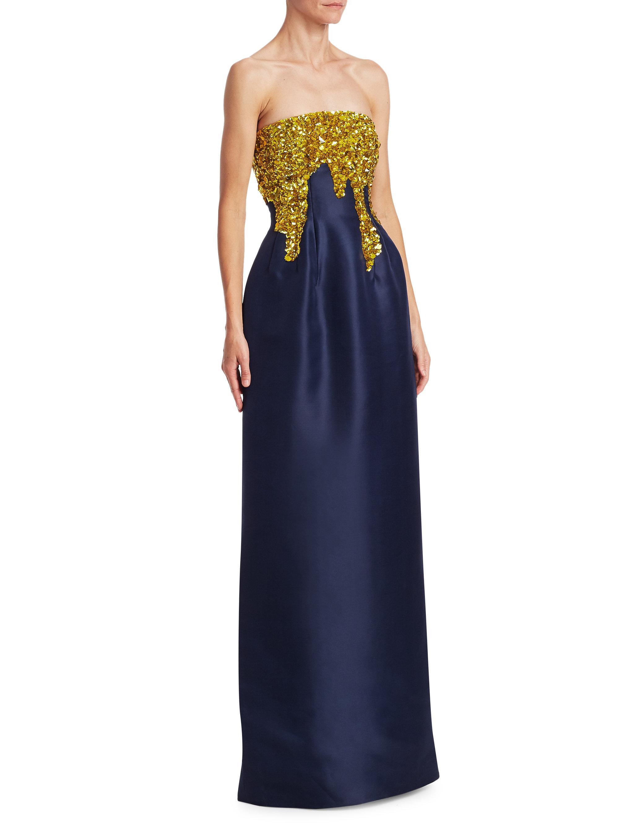 840d7c3063e49 Oscar de la Renta Strapless Silk Column Gown in Blue - Lyst
