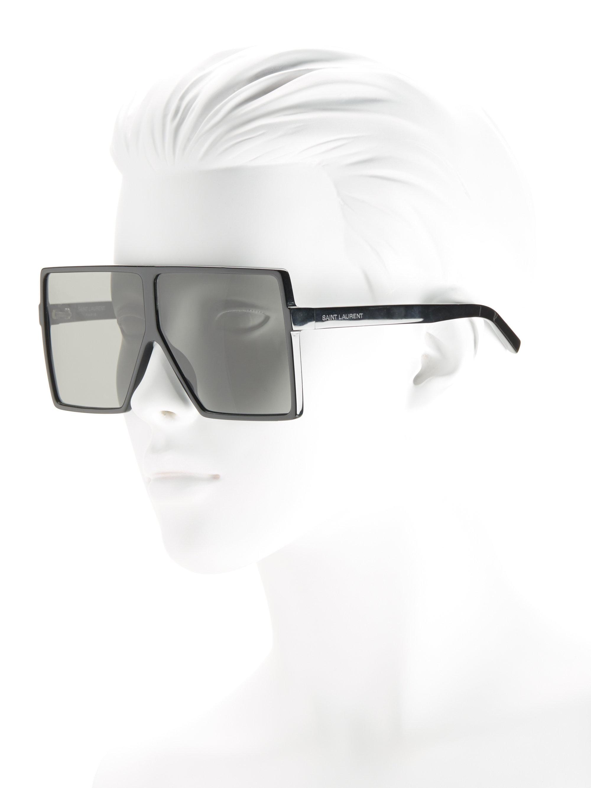 d58433c92fe Lyst - Saint Laurent Sl 183 Betty 68mm Shield Sunglasses in Black