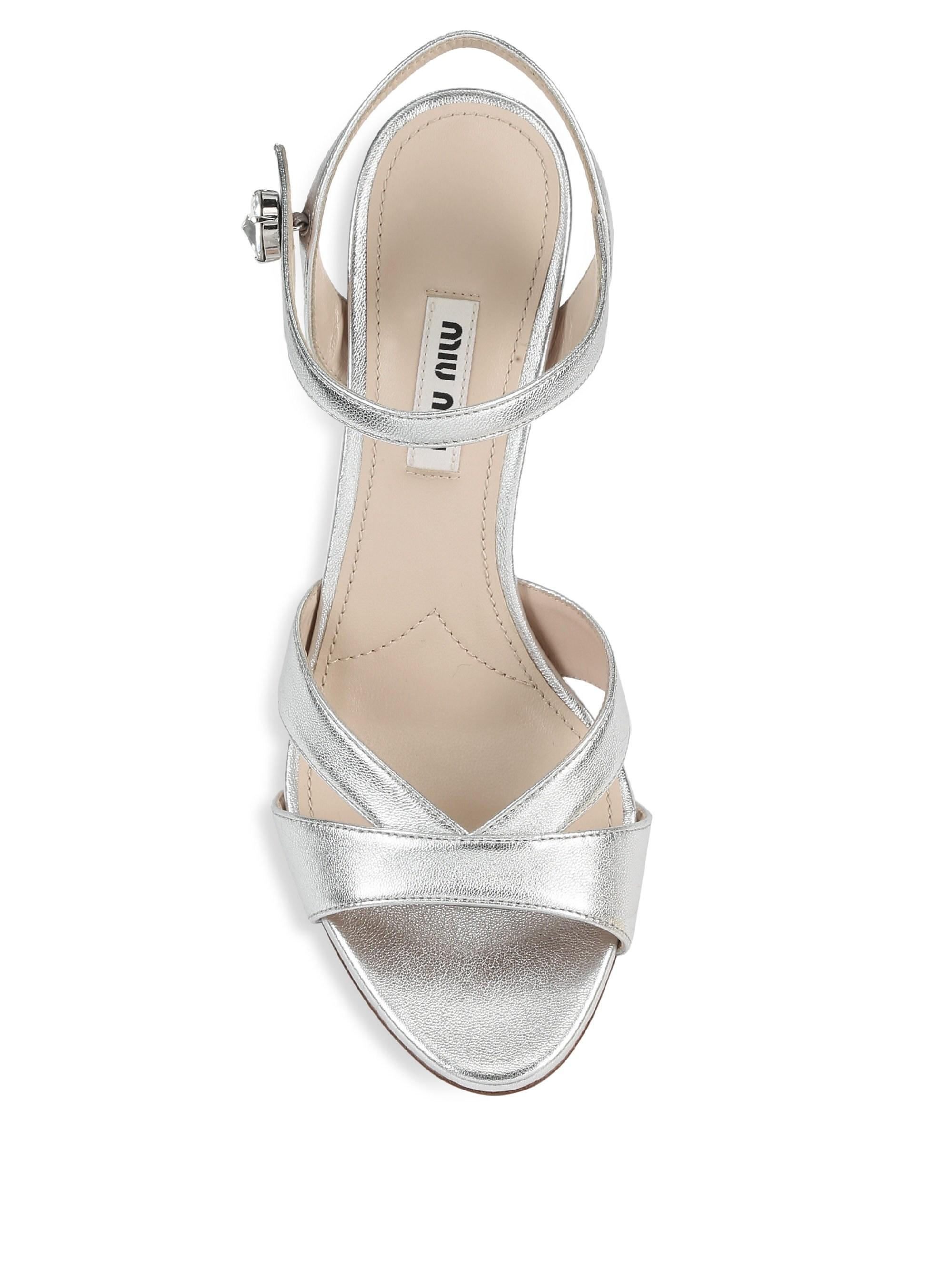 df9ef63cf3f719 Lyst - Miu Miu Women s Metallic Leather Block Heel Sandals - Silver - Size  41.5 (11.5) in Metallic