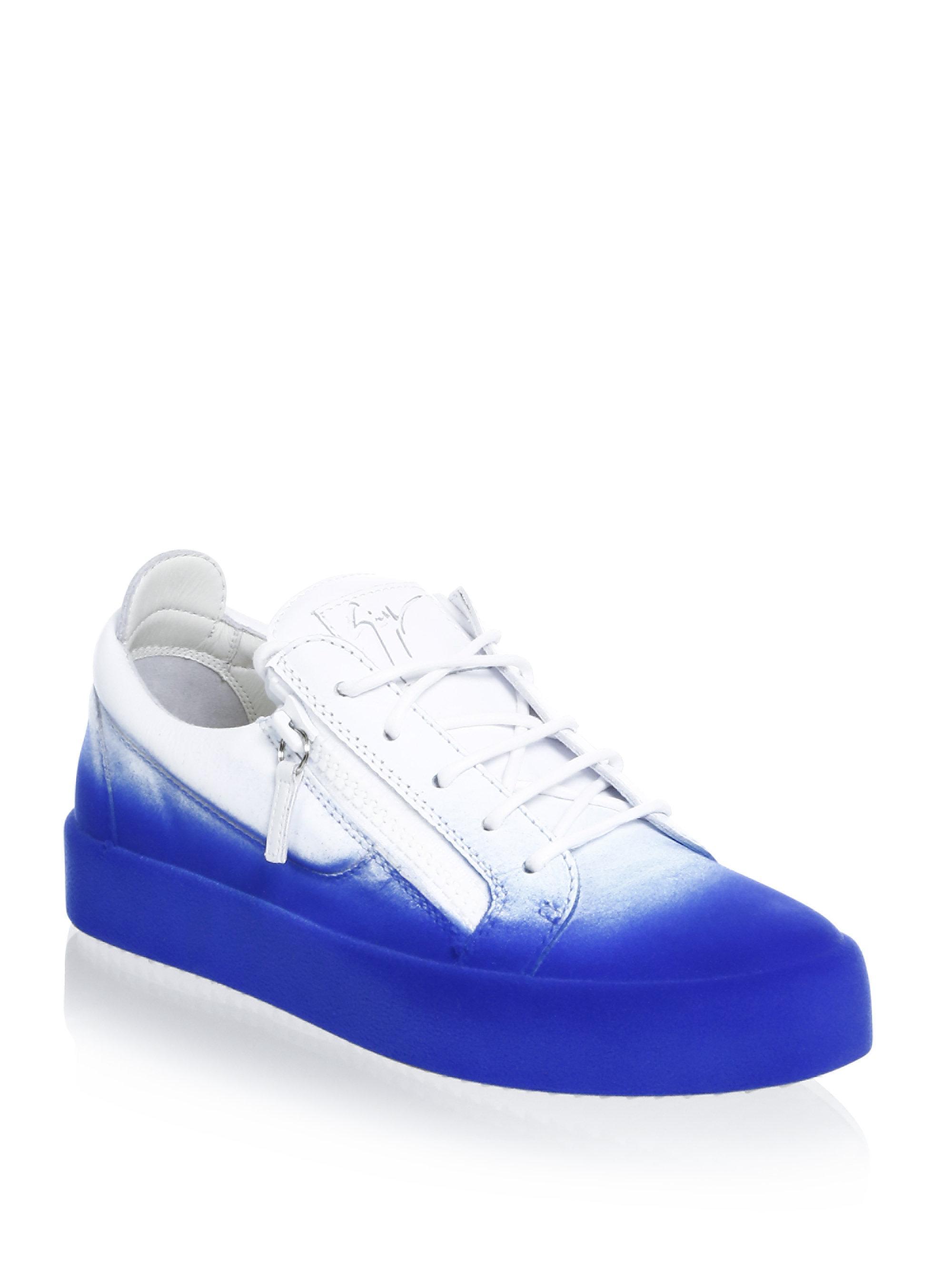 Two Tone Sneakers in White Leather Giuseppe Zanotti zznUPi