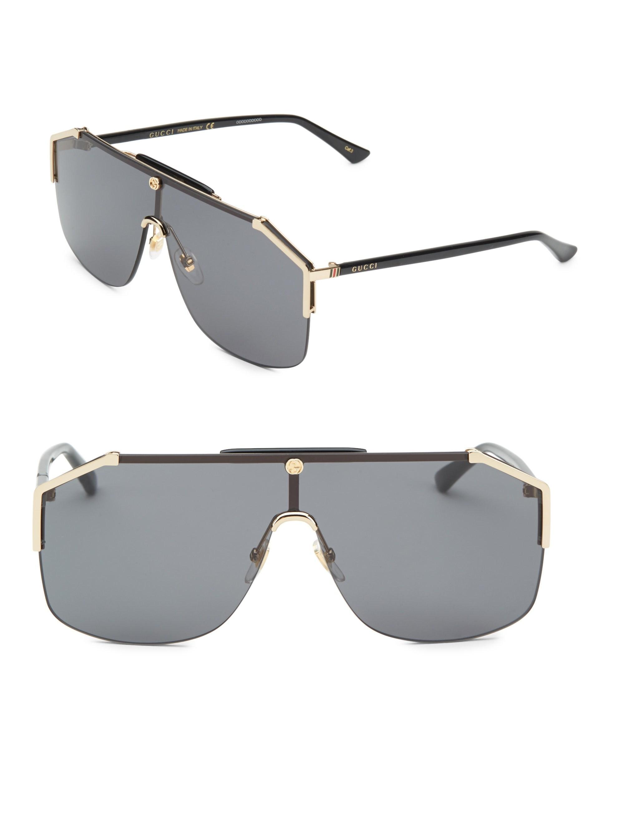a9db4f9ec4 Gucci Men s 99mm Shield Sunglasses - Black Gold for Men - Lyst