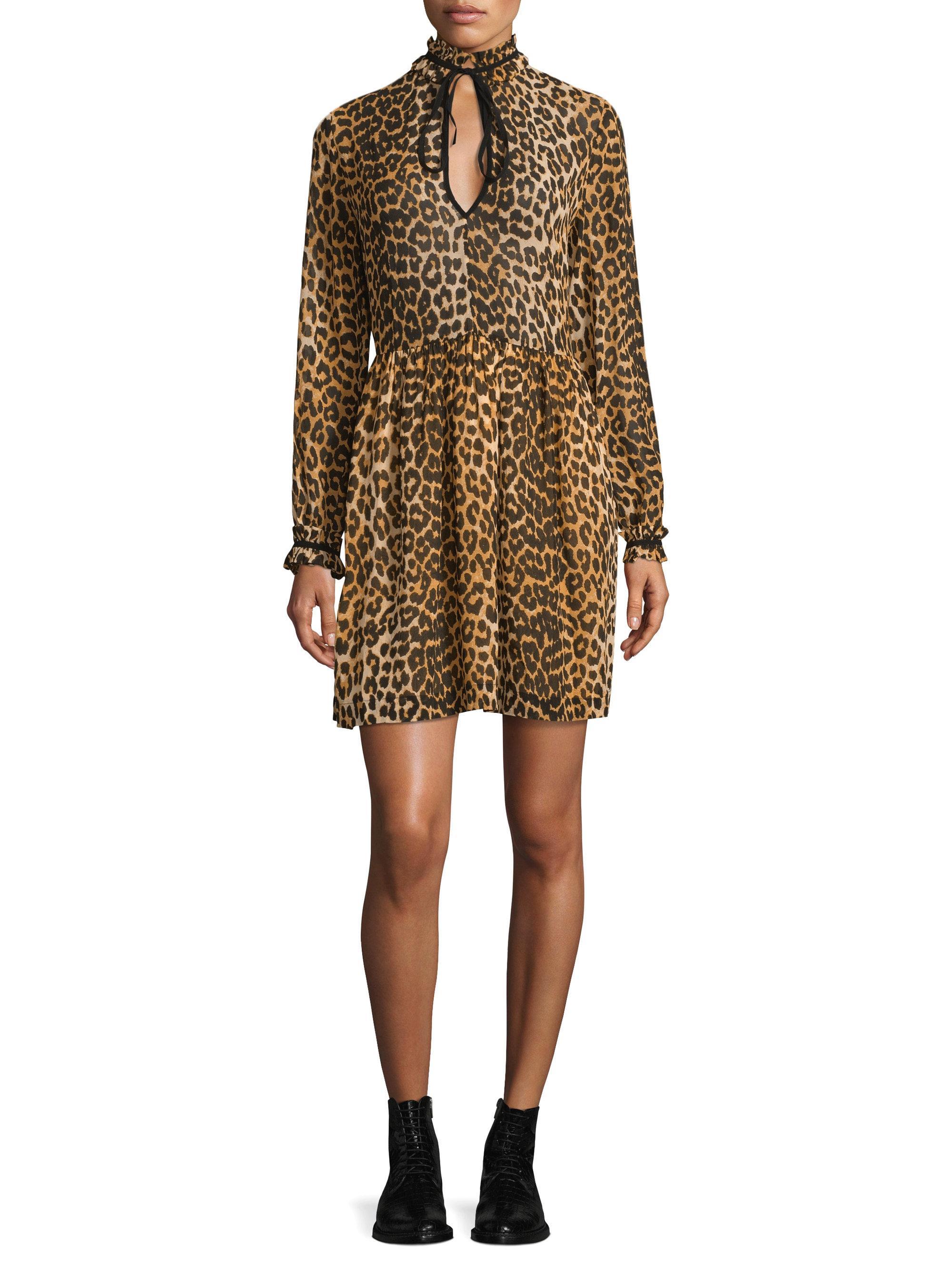 Ganni Fairfax Georgette Leopard Dress Lyst