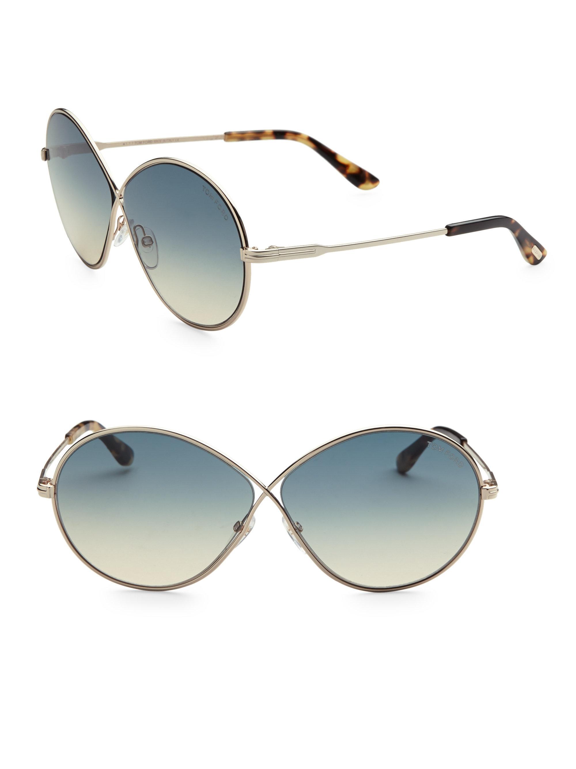 f5ec97b14da7b Tom Ford Women s Rania 64mm Oval Sunglasses - Blue Gold in Blue - Lyst