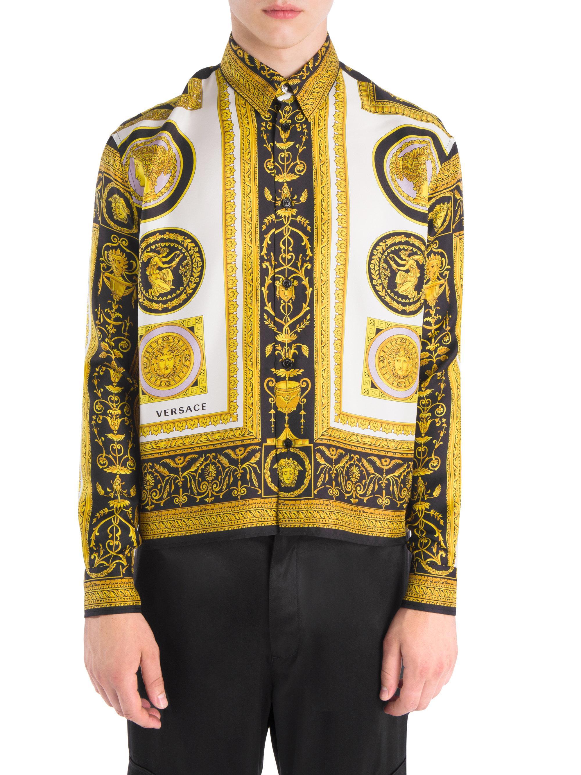 65024eaf0bfda9 ... Lyst Versace Logo print Silk Button down Shirt in Black for Men