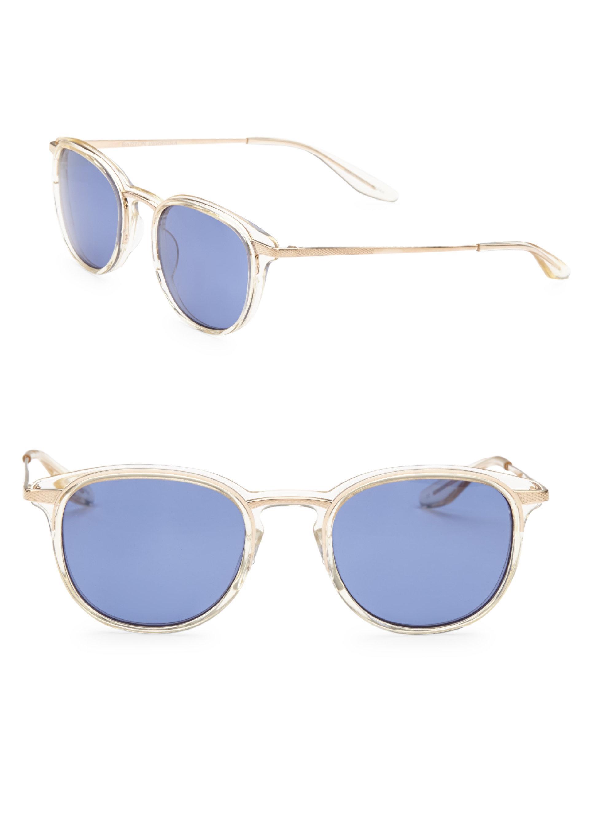 Lyst - Barton Perreira Shulman 48mm Round Sunglasses in Blue for Men