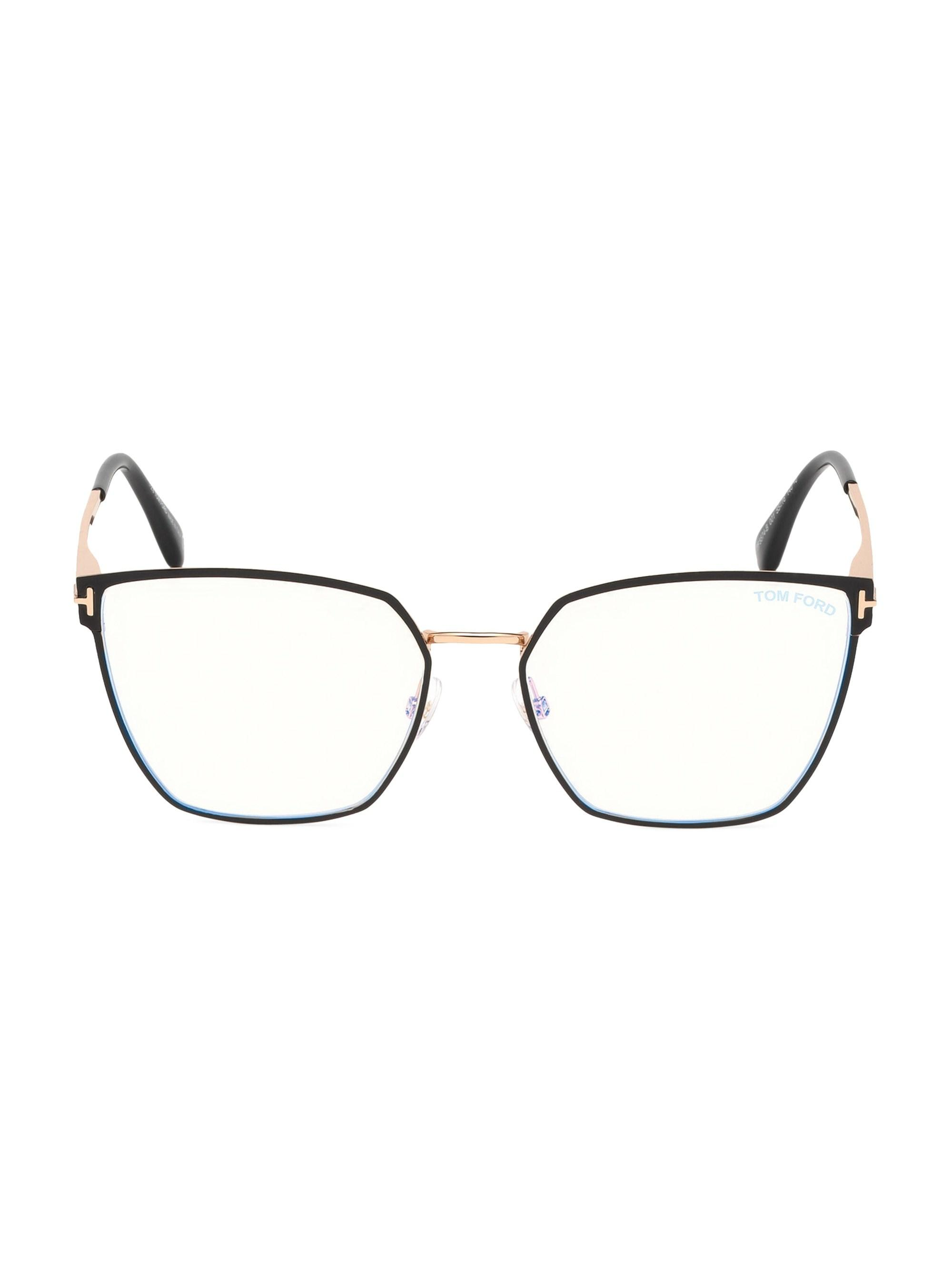 ad74272652 Tom Ford - Black 56mm Angular Metal Blue Block Glasses - Lyst. View  fullscreen