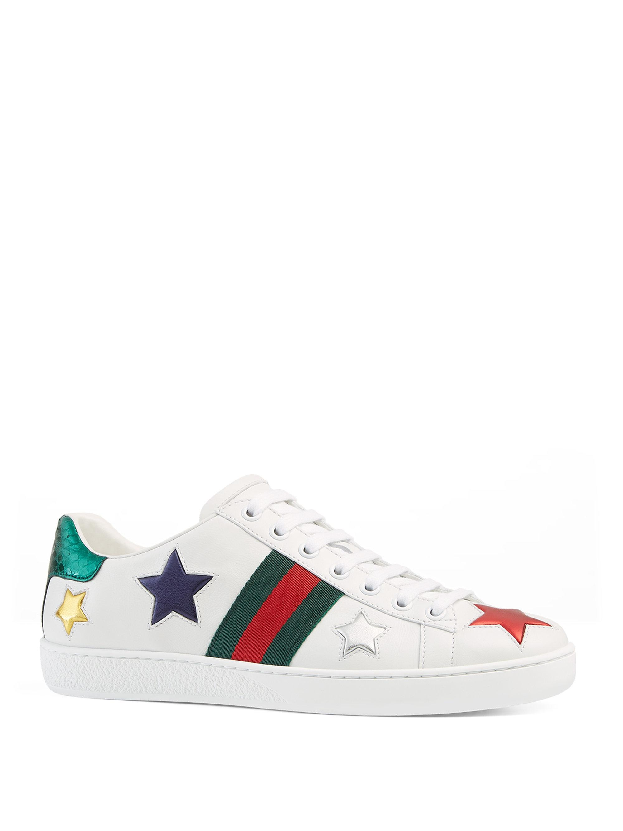 Gucci New Ace Star Leather Low-Top Sneakers p2oyC