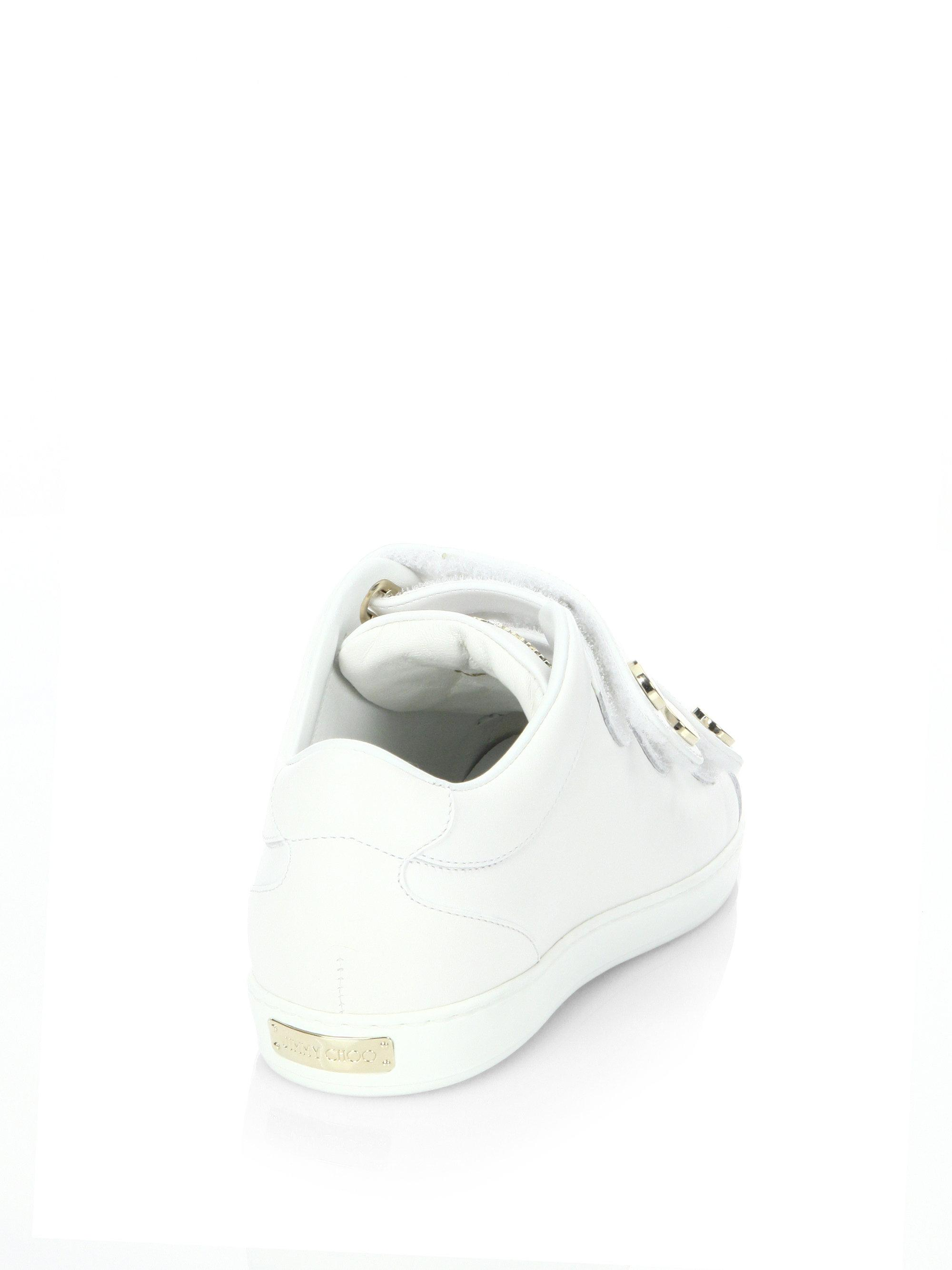Jimmy Choo - White Ny Leather Grip-tape Sneakers - Lyst. View fullscreen