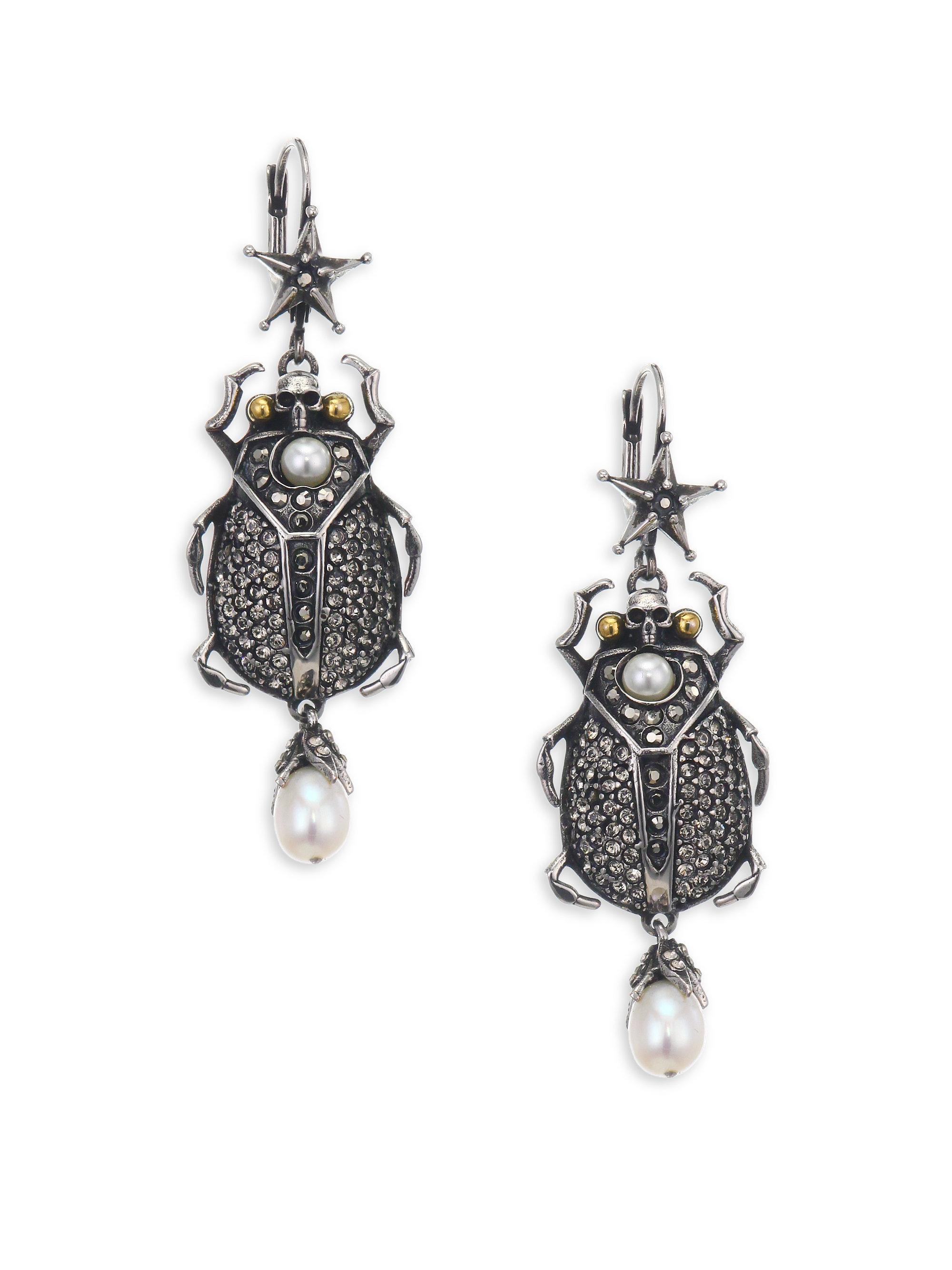 Alexander McQueen Crystal-embellished beetle-drop earrings 3F18C