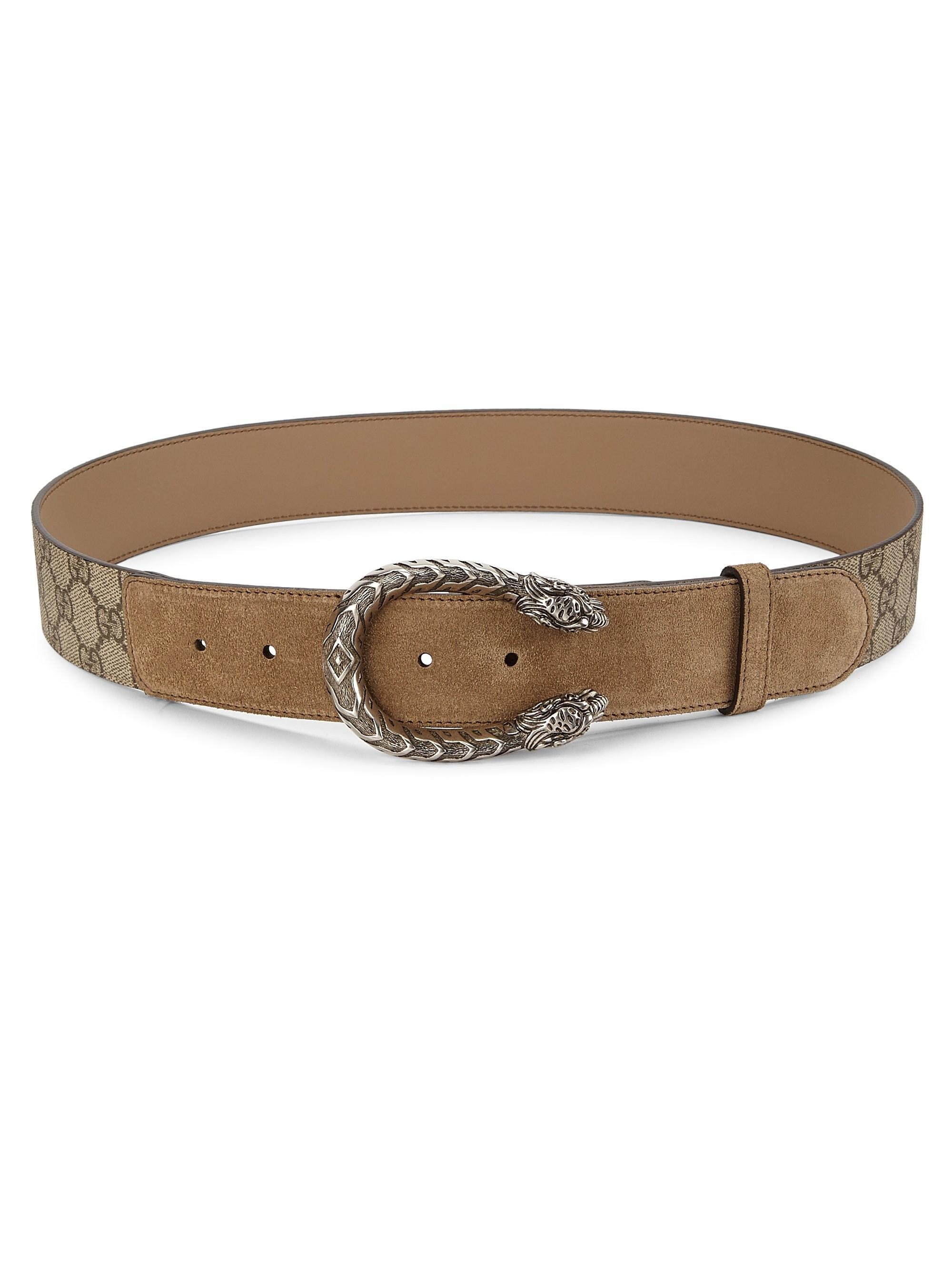 ff58032d8 Lyst - Gucci Women's Dionysus Suede Belt - Beige Multi
