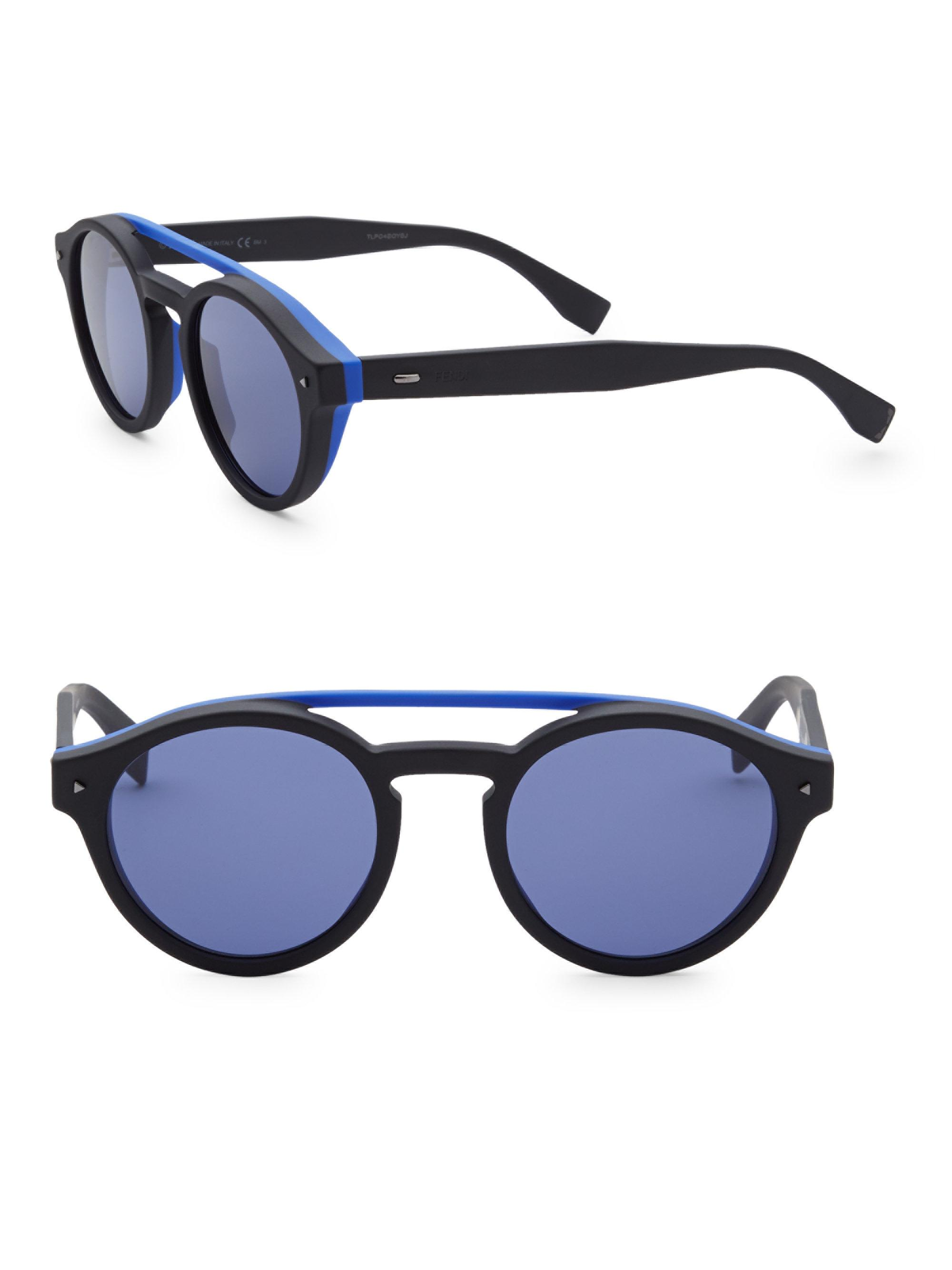 8c0a6c83308 Fendi. Men s 51mm Round Sunglasses - Black.  522 From Saks Fifth Avenue