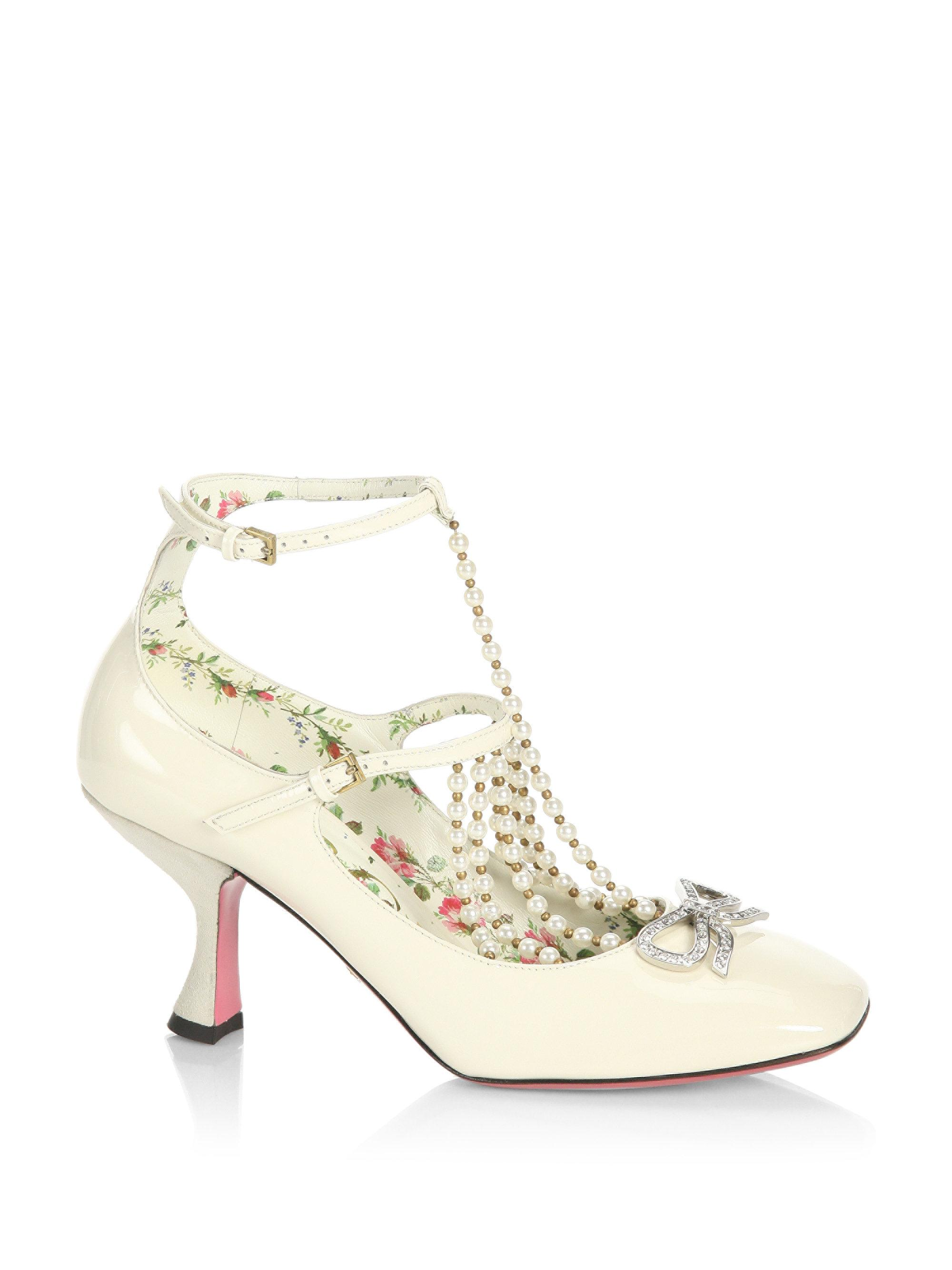 af8ff5ddf Gucci Taide Pearl-embellished Patent Leather Mary Jane Pumps in ...