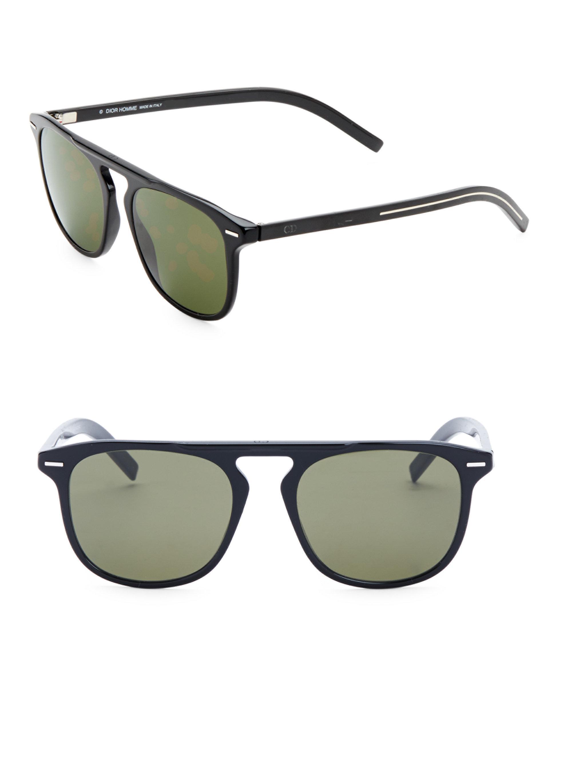 e1de7d1a4eb3e Dior Homme Black Tie 24 52mm Square Sunglasses in Green for Men - Lyst
