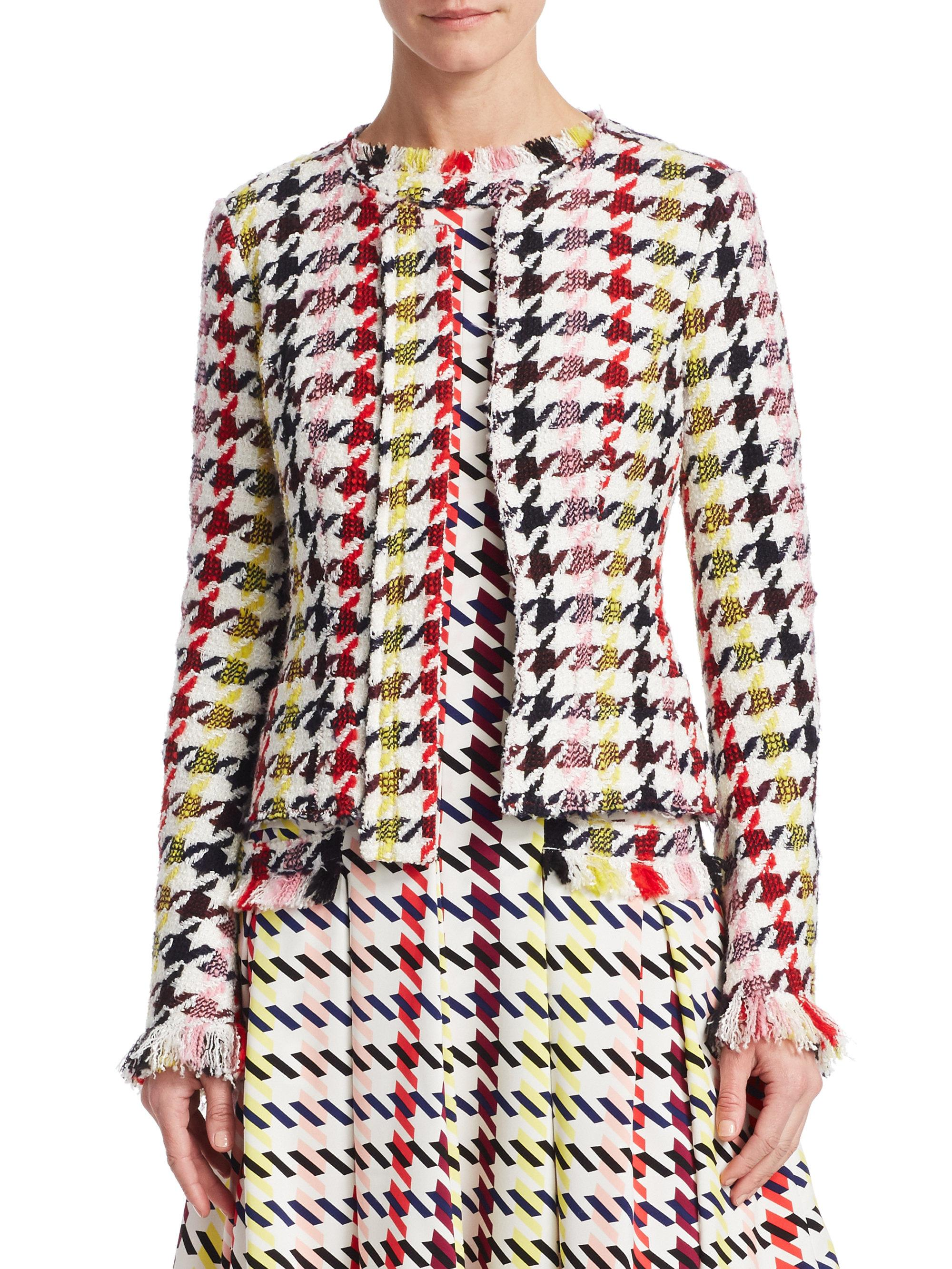 Oscar de la Renta graphic-print tweed jacket Discount 2018 Discount Aaa Discount Real Clearance Best Place 1G3XYAk