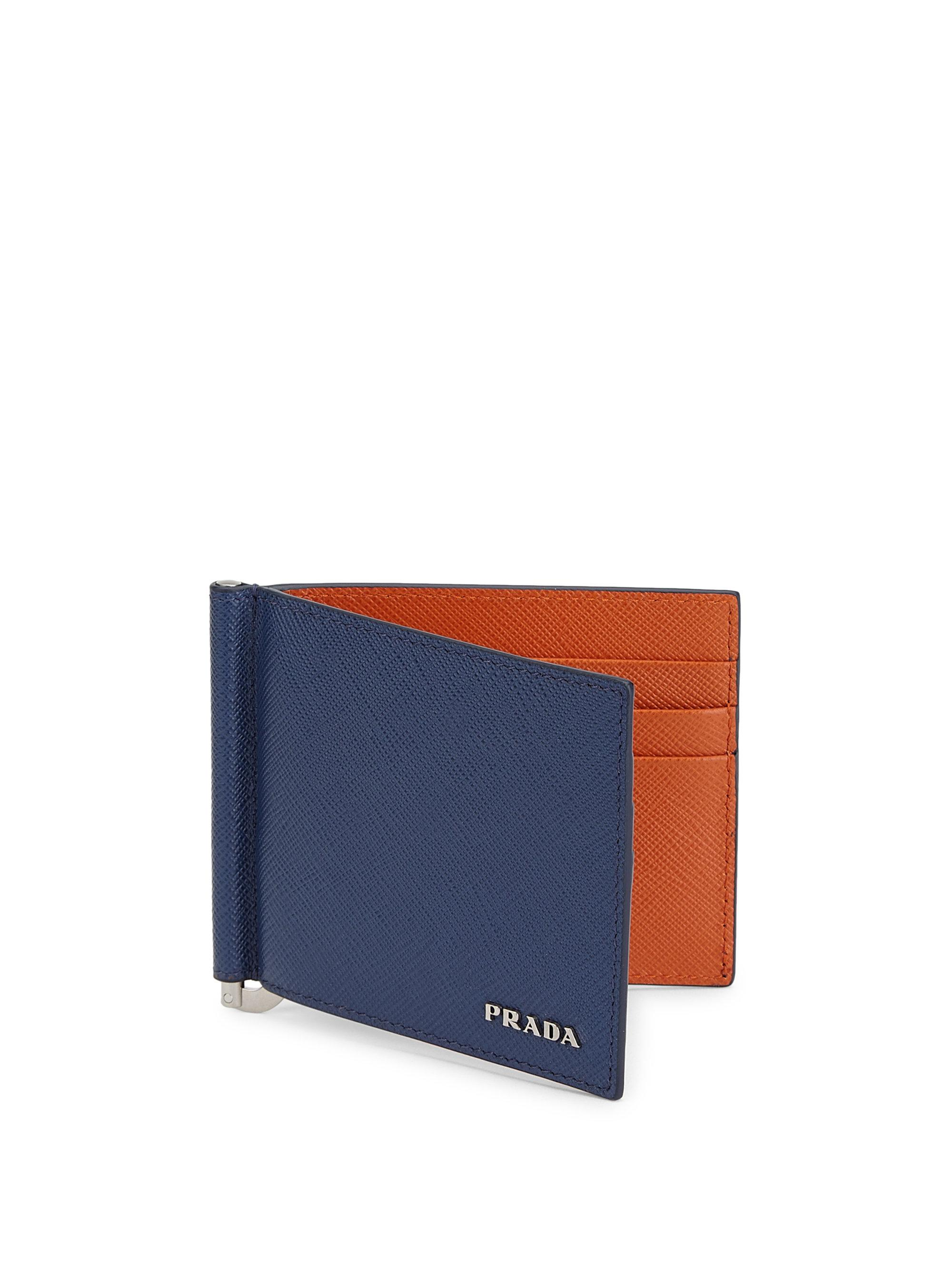 03d5cf298f95 ... clearance lyst prada money clip wallet in blue for men 8a803 80225