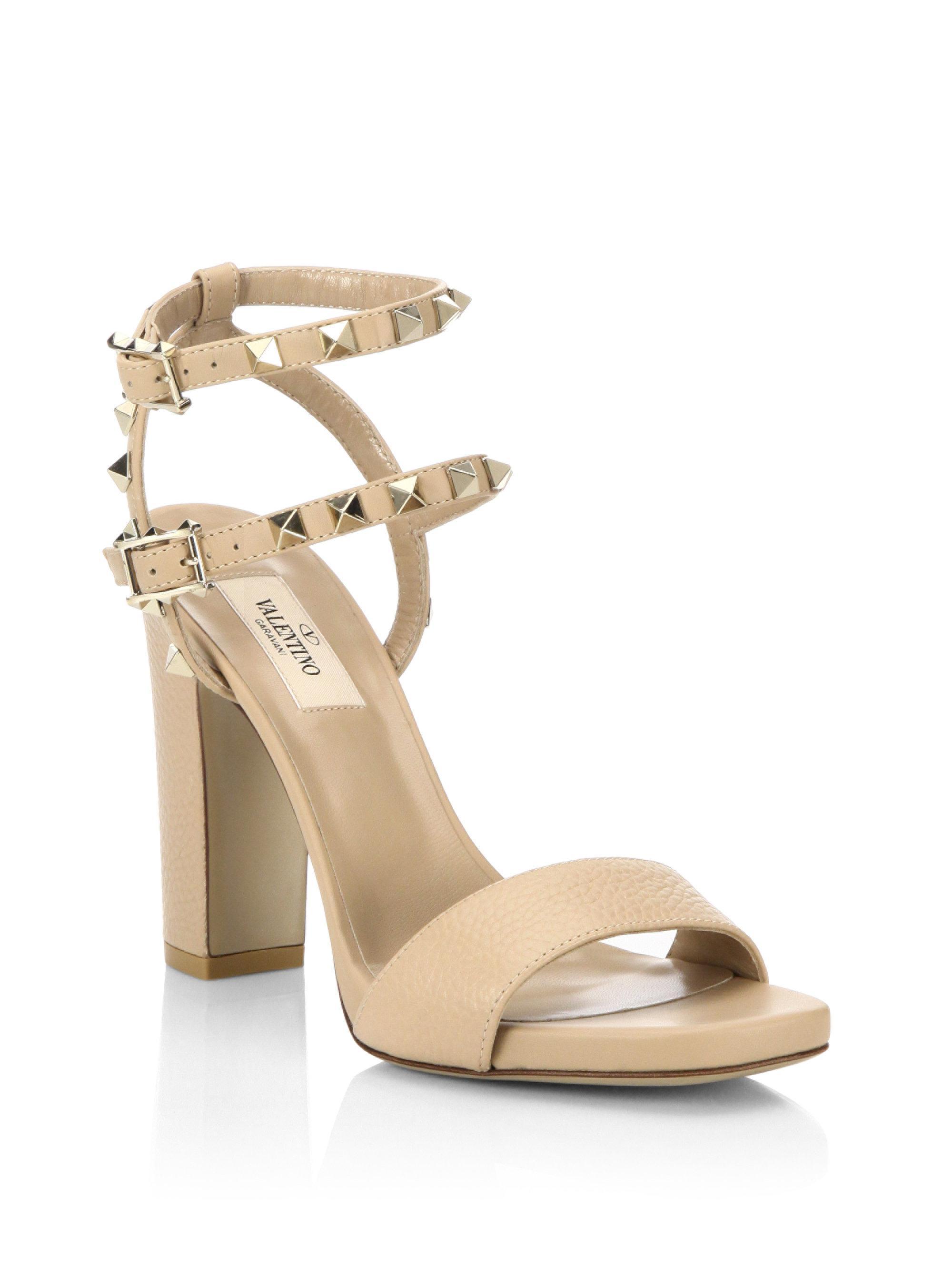 4ef8aa5edf16 Valentino Rockstud High Heel Sandals in Natural - Lyst