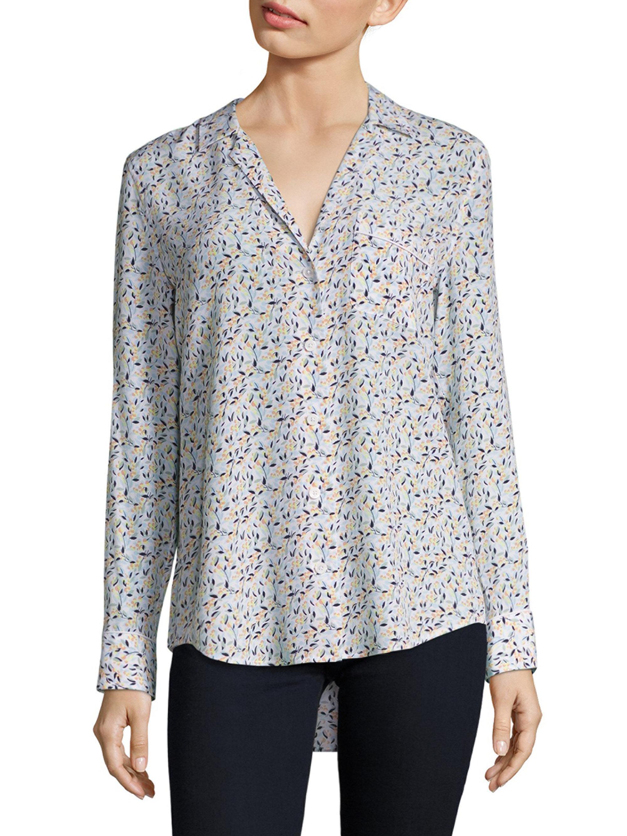 c6c50b7217b546 Lyst - Equipment Kiera Floral-print Silk Shirt in White