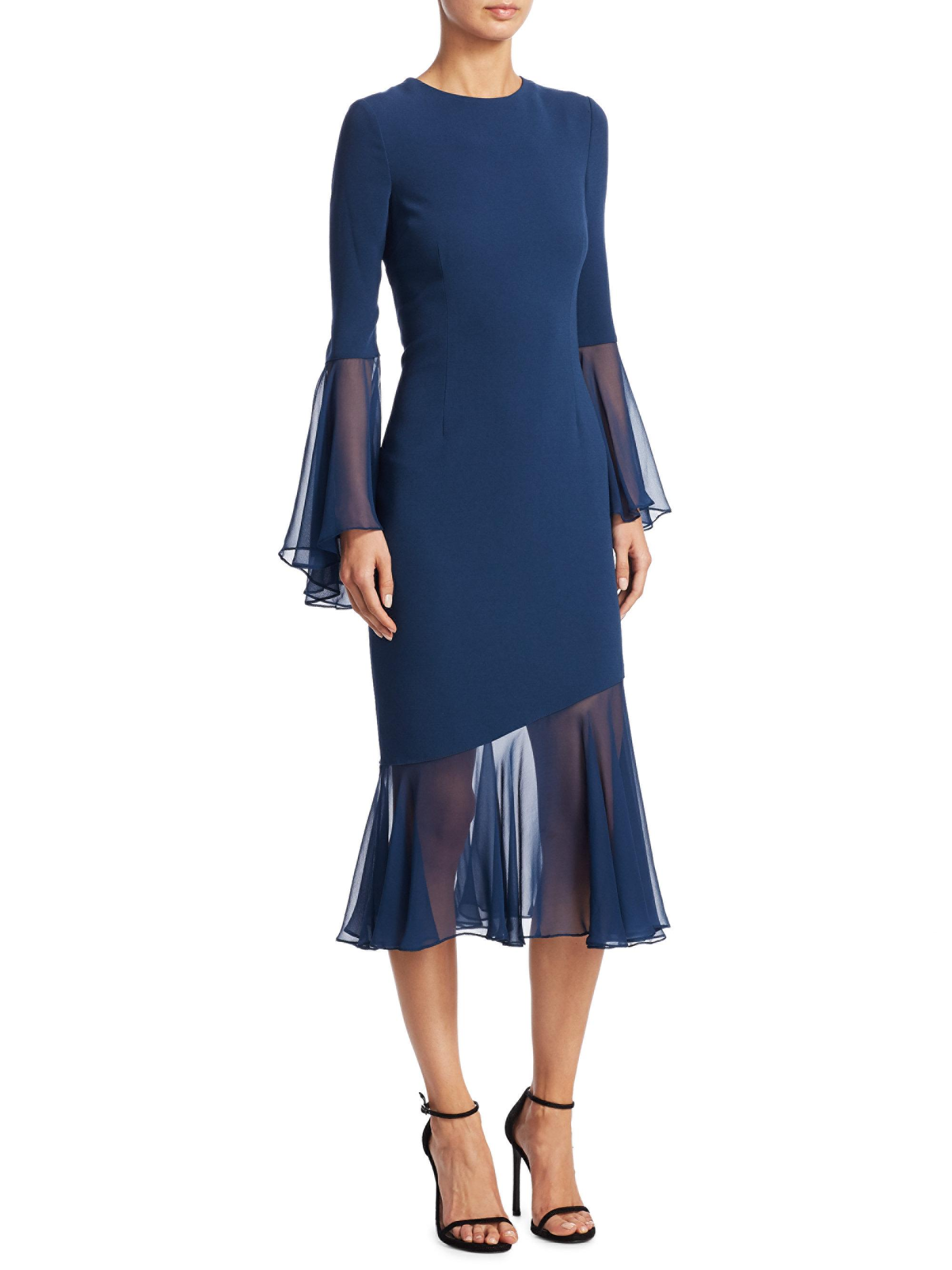 Lyst Teri Jon Crepe Chiffon Sleeve Sheath Dress In Blue