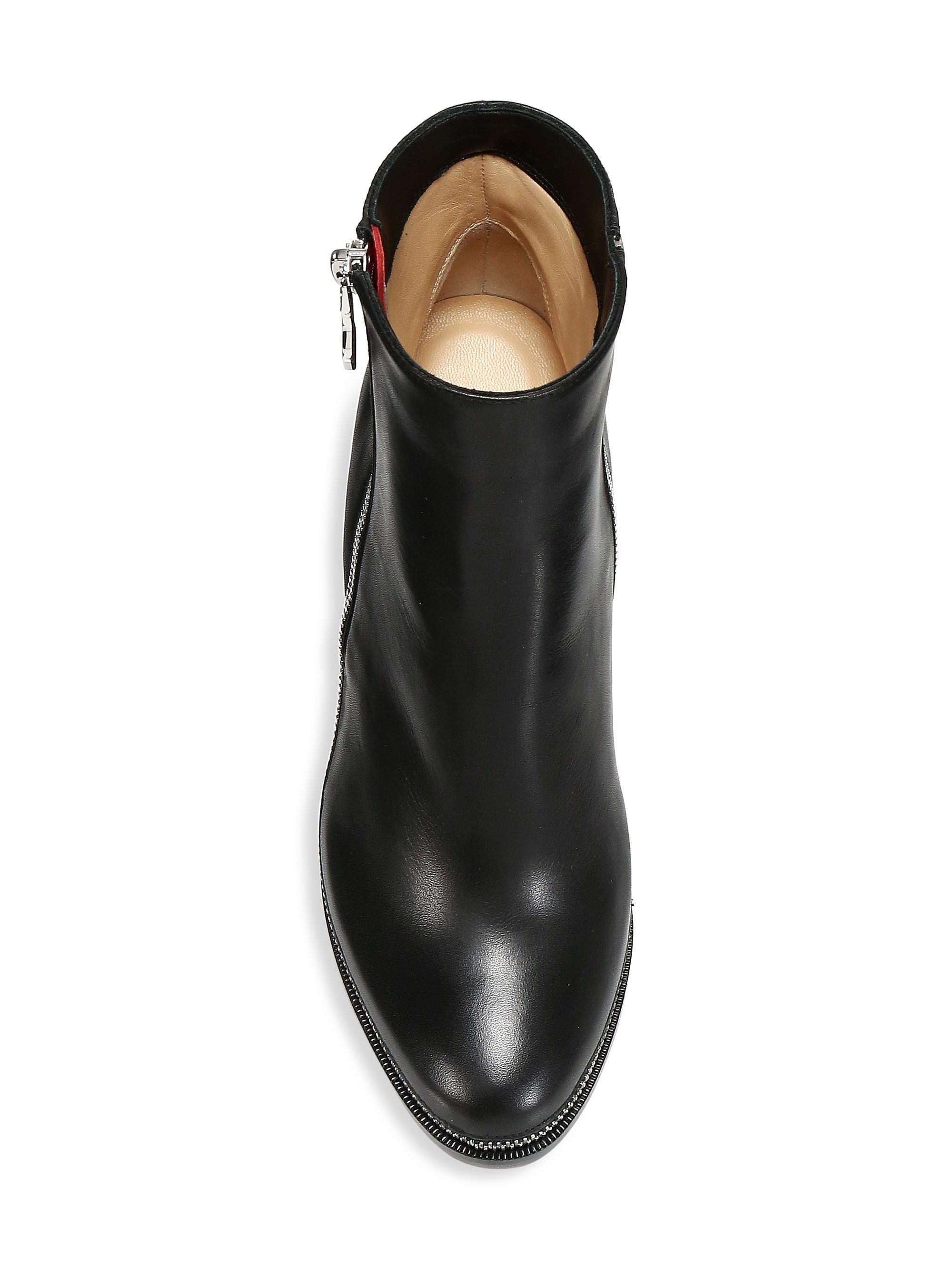 pretty nice 74a5a 6f733 Christian Louboutin Telezip 85 Leather Booties in Black - Lyst