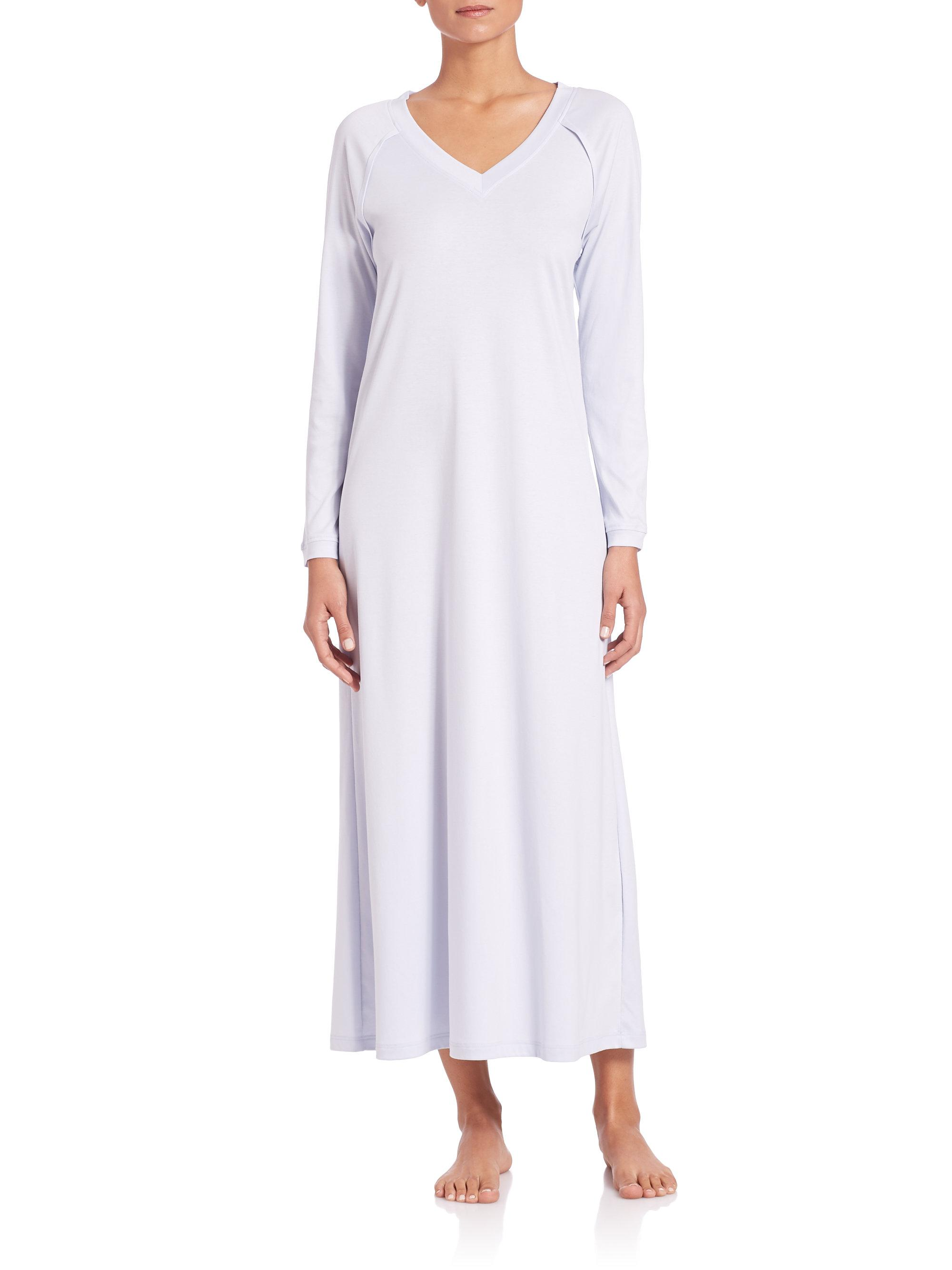 6e36c58a0e Hanro Pure Essence Long-sleeve Gown in Blue - Lyst