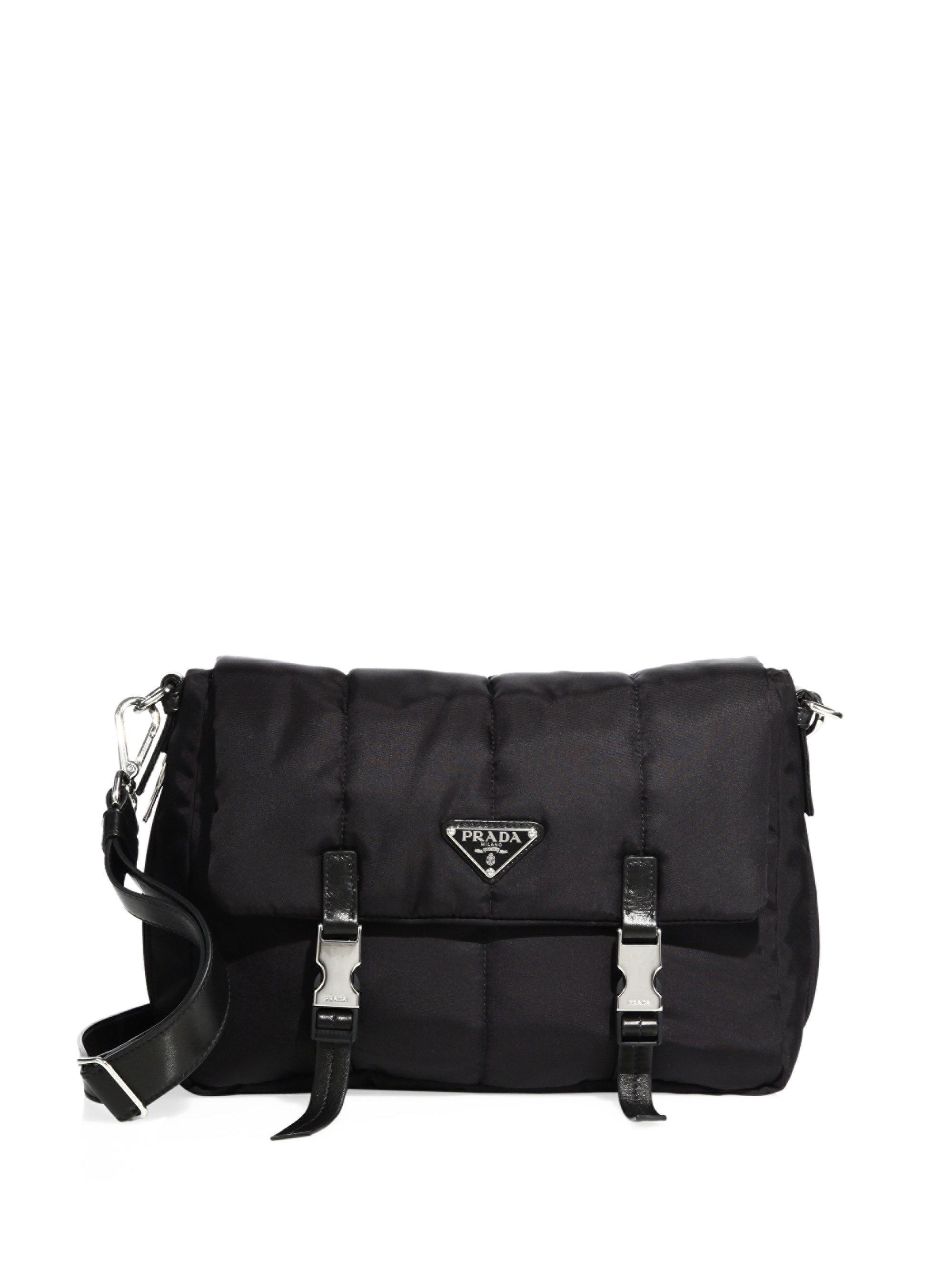 d20af0fb7784 Lyst - Prada Tessuto Nylon Bomber Messenger Bag in Black
