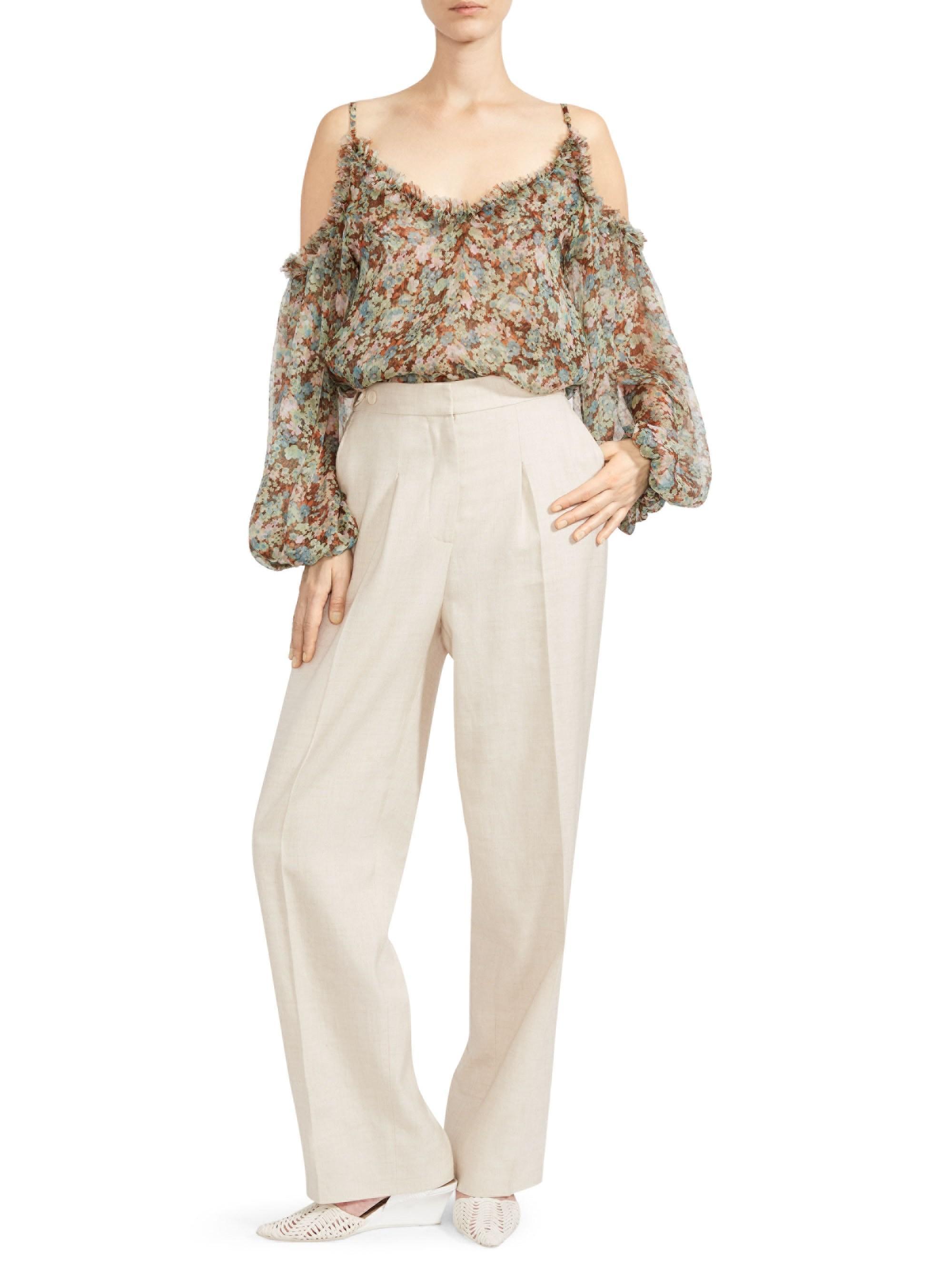 cfecf87cf37 Lyst - Stella McCartney Meadow Floral Silk Cold-shoulder Top