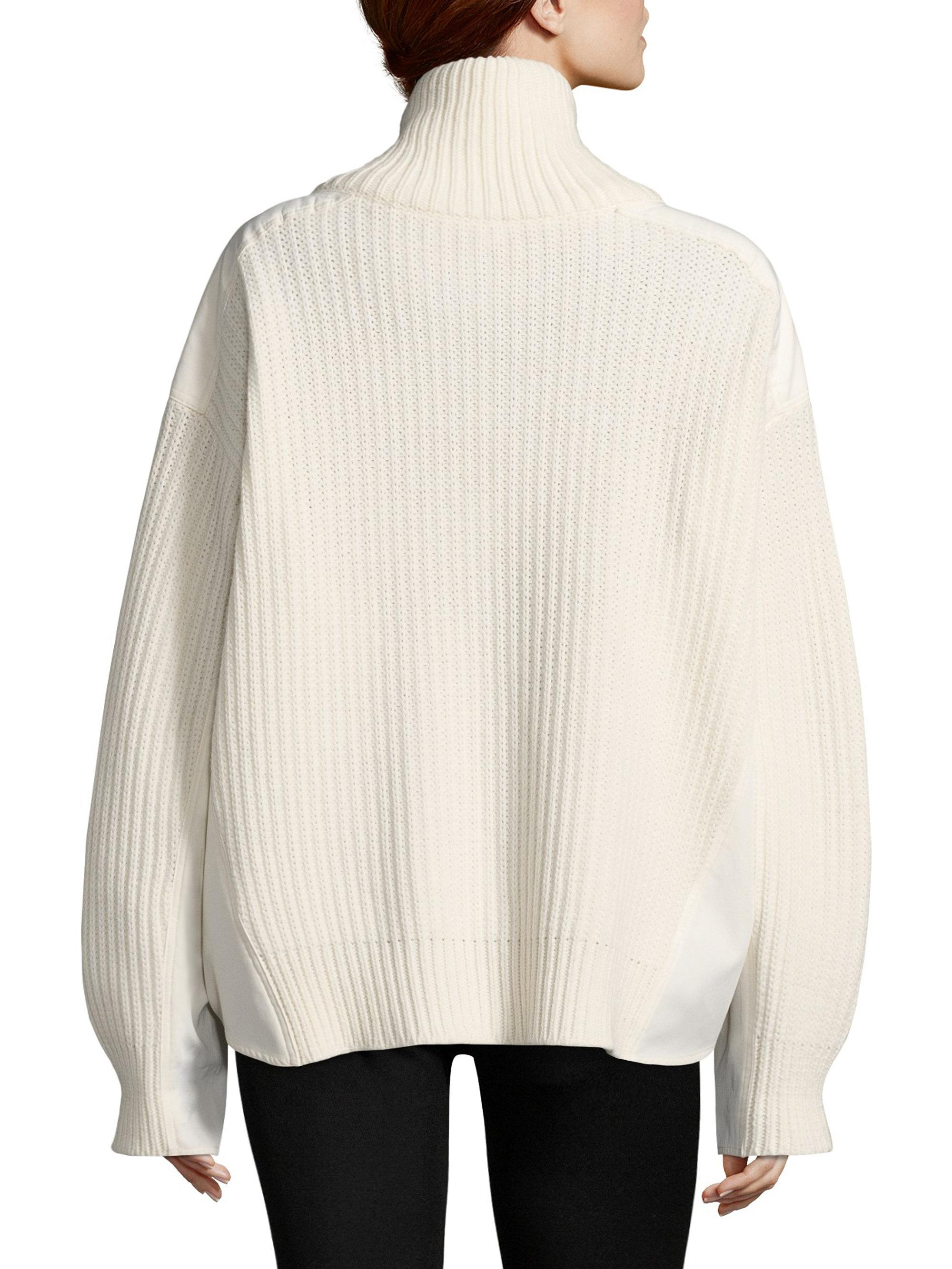 Moncler Oversized Wool Cardigan in White | Lyst